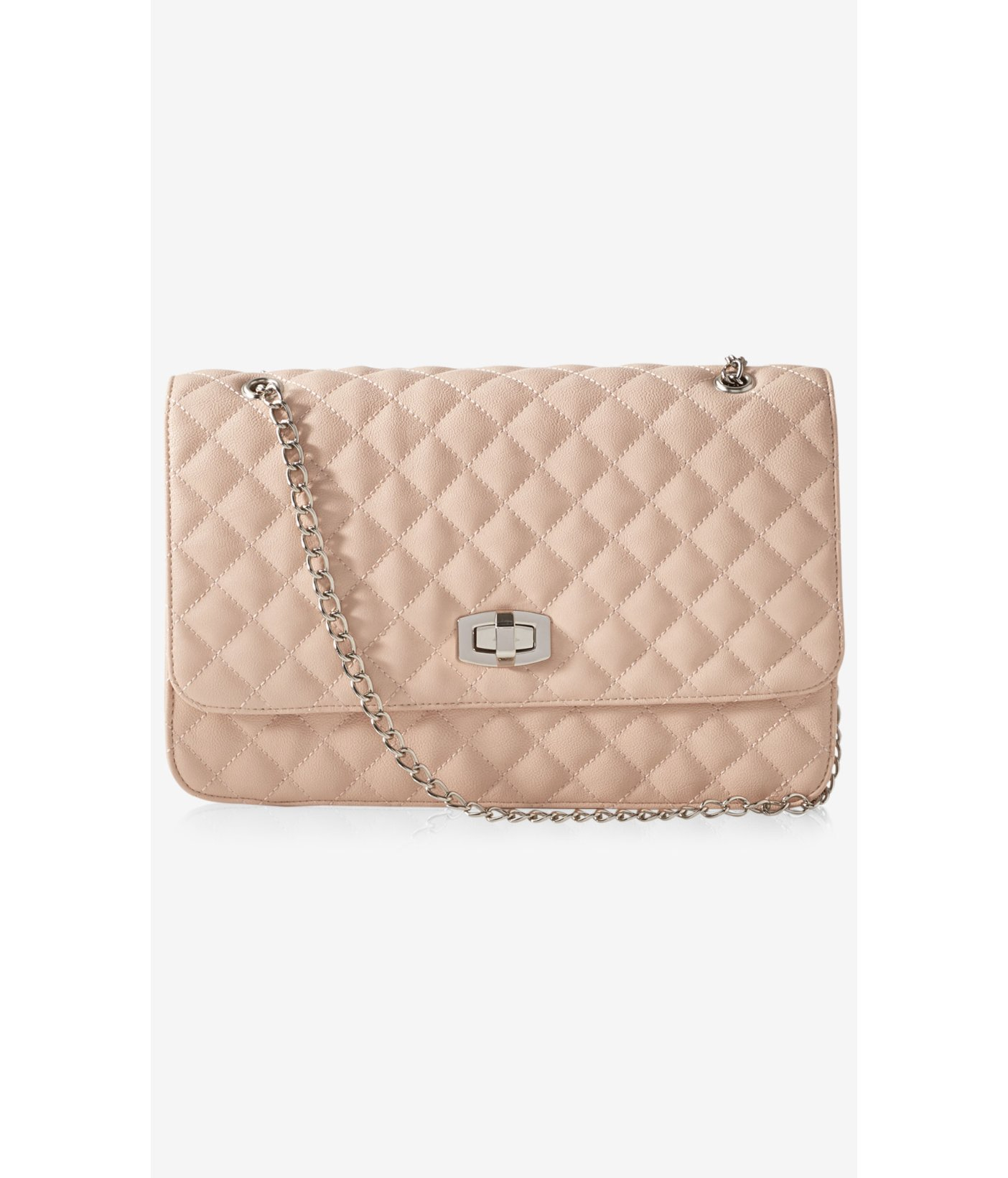 Express Large Quilted Chain Strap Shoulder Bag in Natural | Lyst : quilted handbag with chain strap - Adamdwight.com
