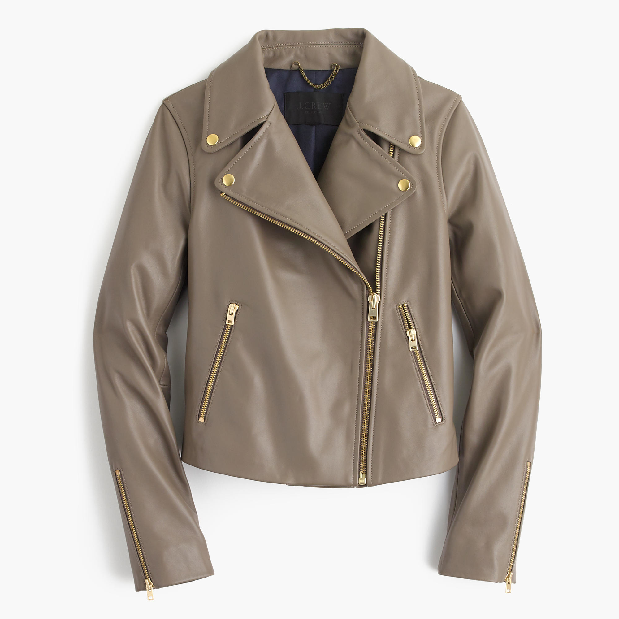 Lyst - J.Crew Collection Leather Motorcycle Jacket in Gray 3430631e604b