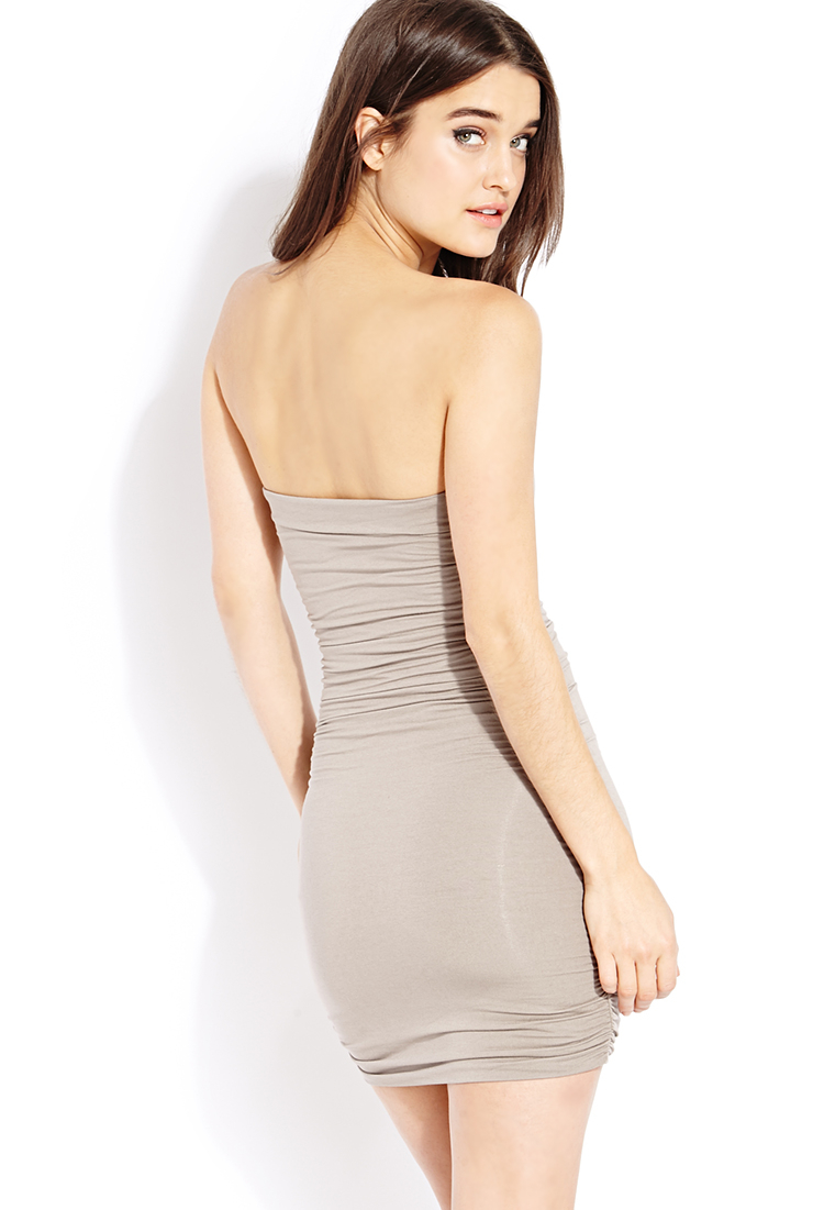 62187e21f24 Forever 21 Must-have Ruched Tube Dress in Gray - Lyst