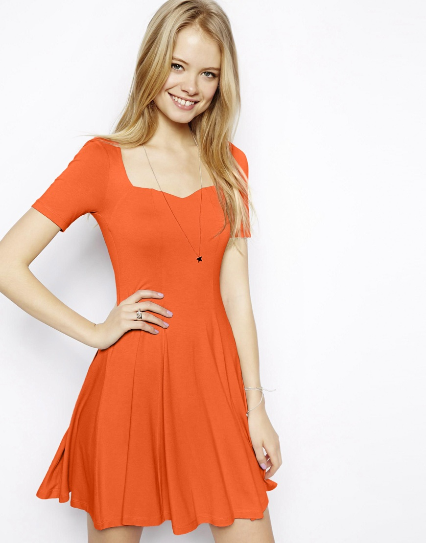 ASOS Skater Dress With Sweetheart Neck And Short Sleeves