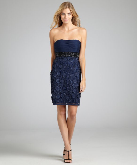 Sue Wong Blue Navy Flower Liqué Beaded Strapless Dress Lyst