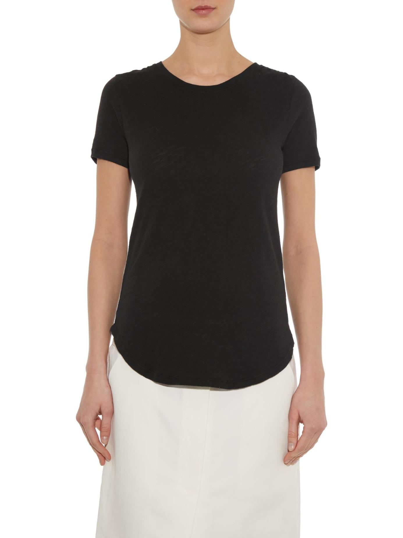 Atm slub cotton jersey t shirt in black lyst for What is a slub shirt