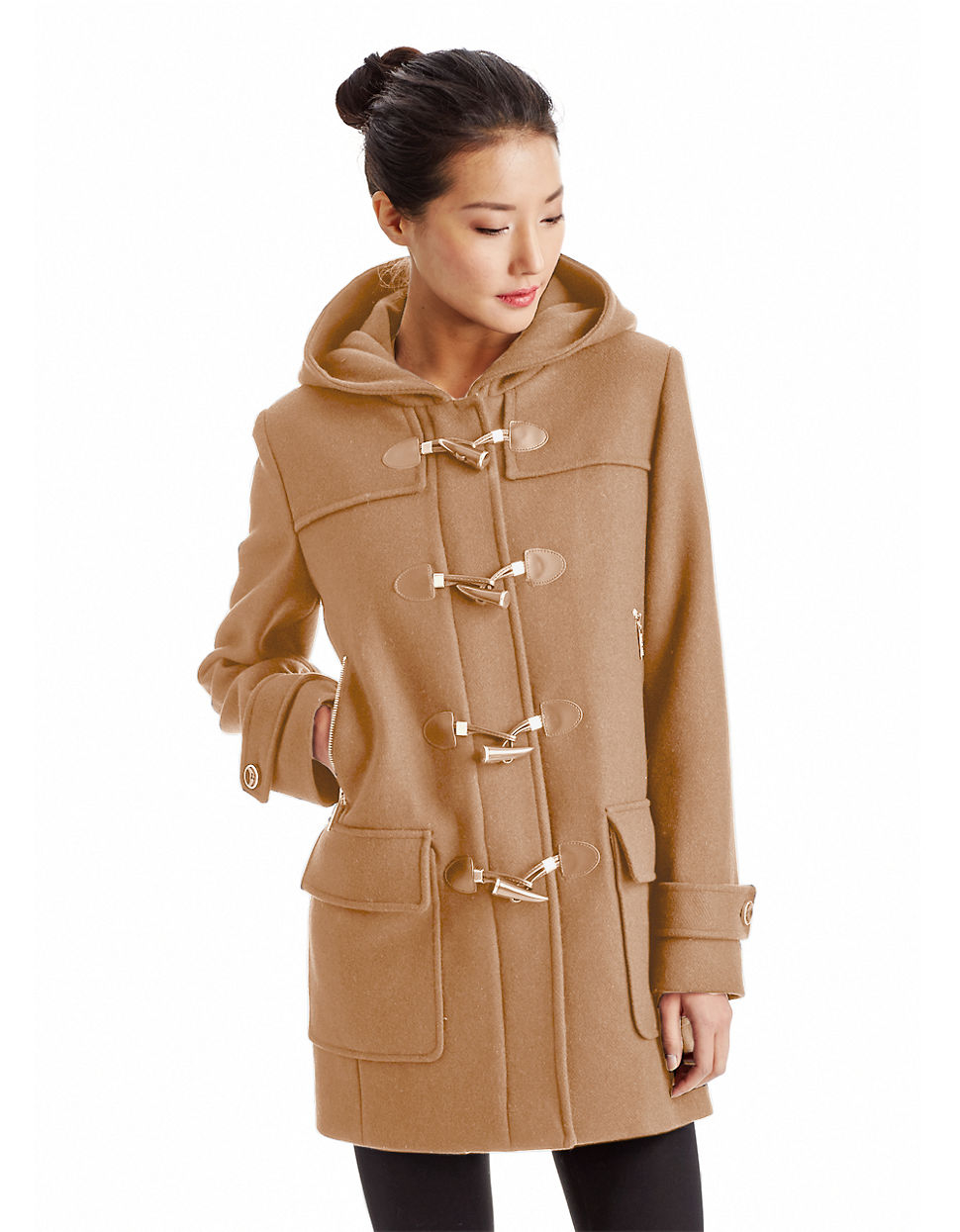 Lyst Michael Michael Kors Hooded Toggle Coat In Brown