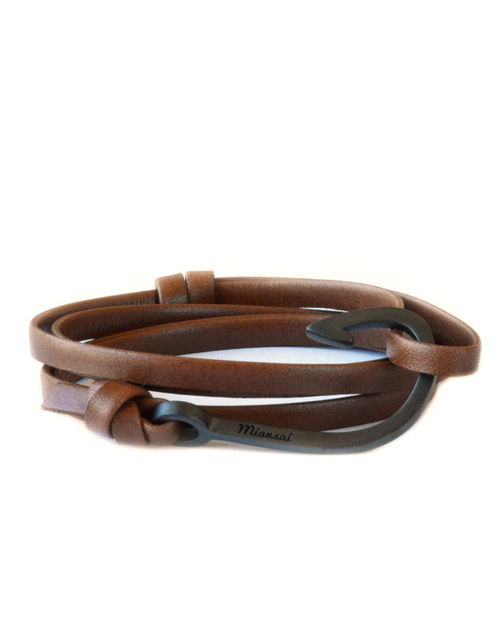 Miansai black fish hook and brown leather wrap bracelet in for Leather fish hook bracelet