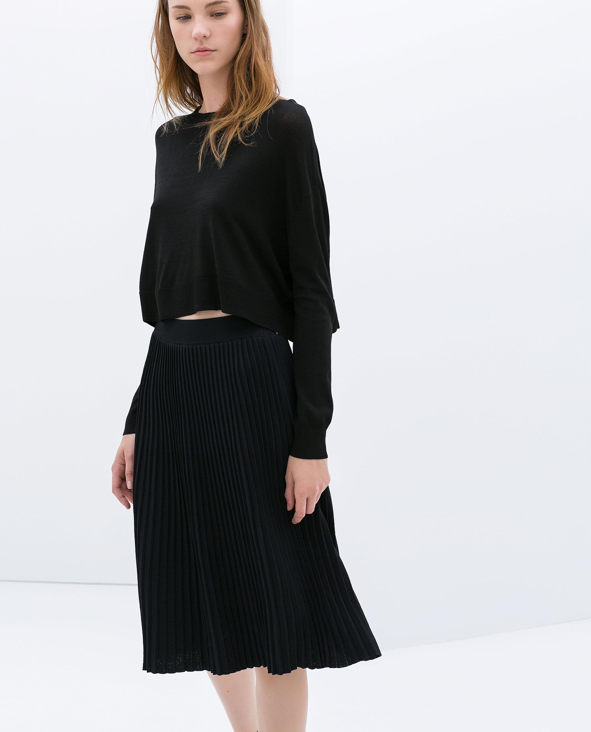Zara Knee Length Fine Pleat Skirt in Blue | Lyst