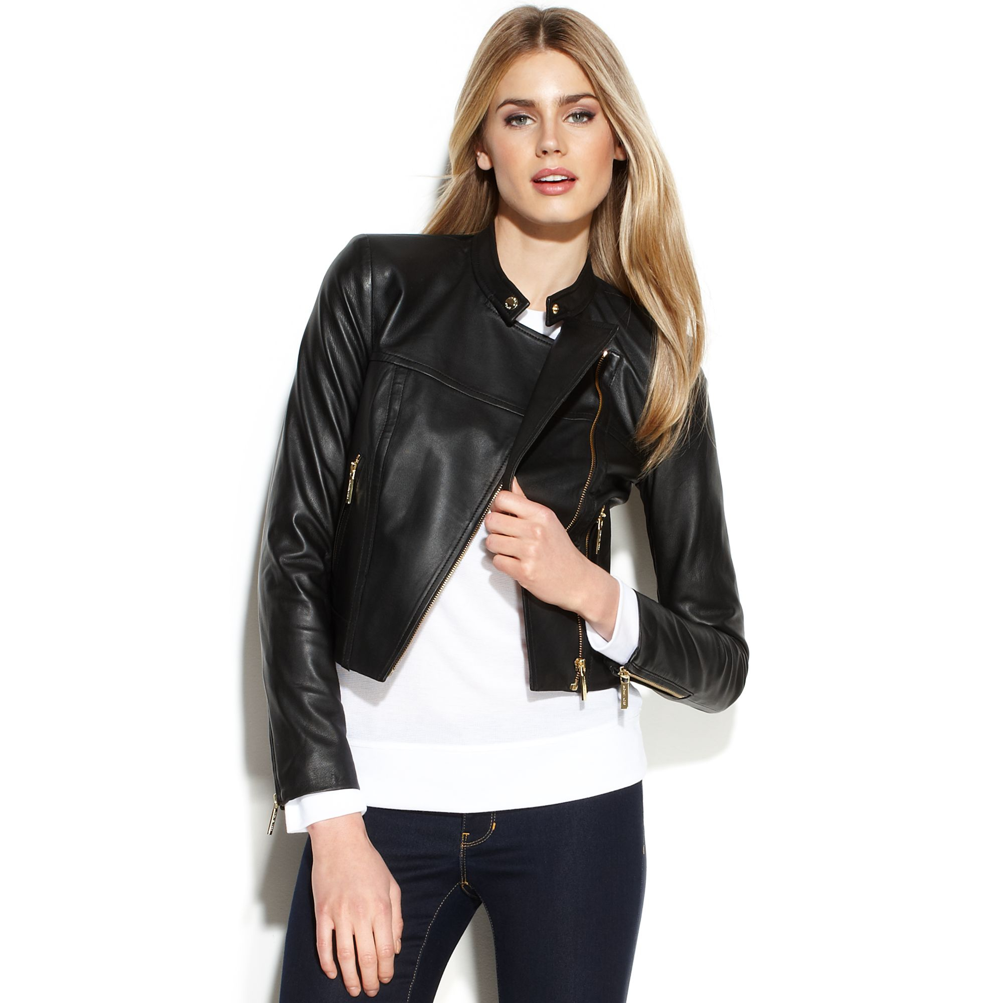 Lyst Michael Kors Michael Cropped Leather Moto Jacket In