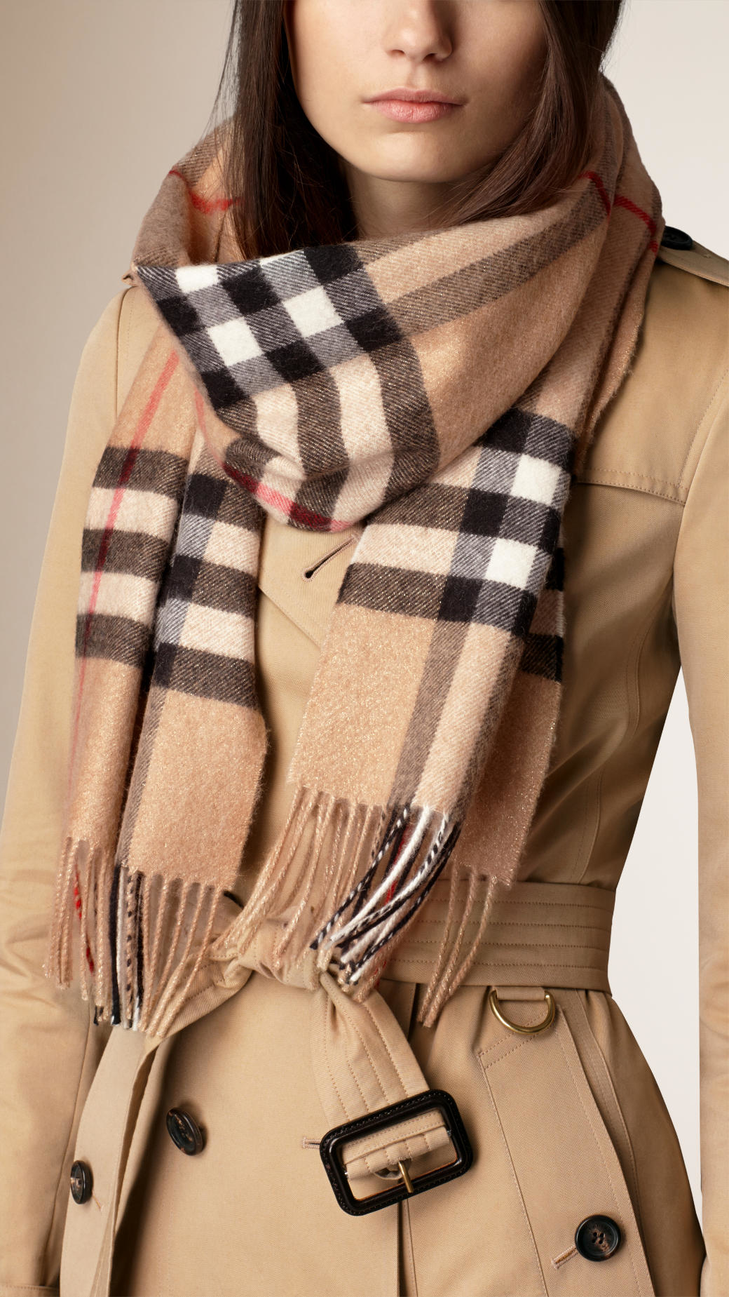 5d0522d2bba ... official store lyst burberry metallic weave check cashmere scarf camel  gold in 863e2 6dc91