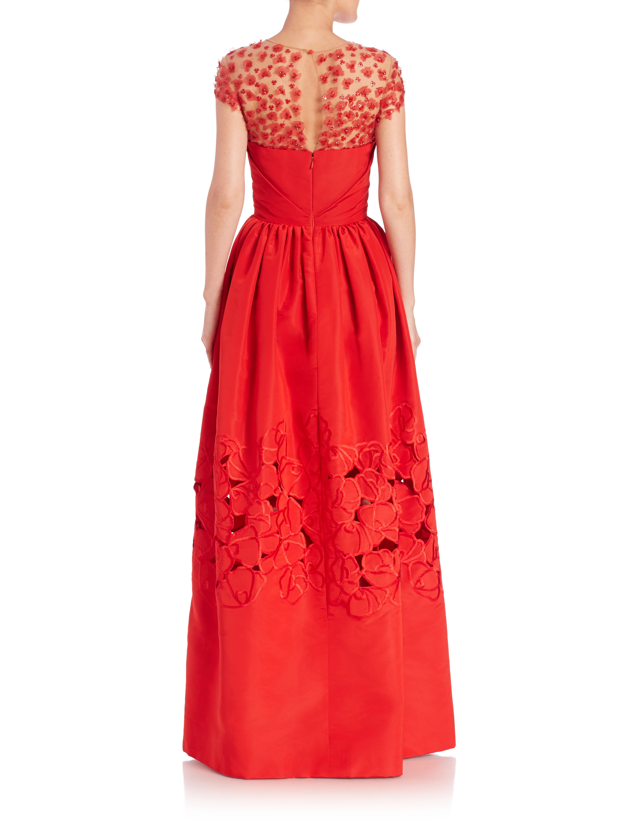 lyst oscar de la renta floral lasercut silk gown in red. Black Bedroom Furniture Sets. Home Design Ideas