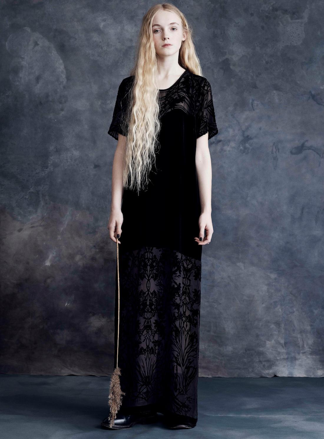Draw in light Long Black Velvet Dress With Diaphanous Branches By ...