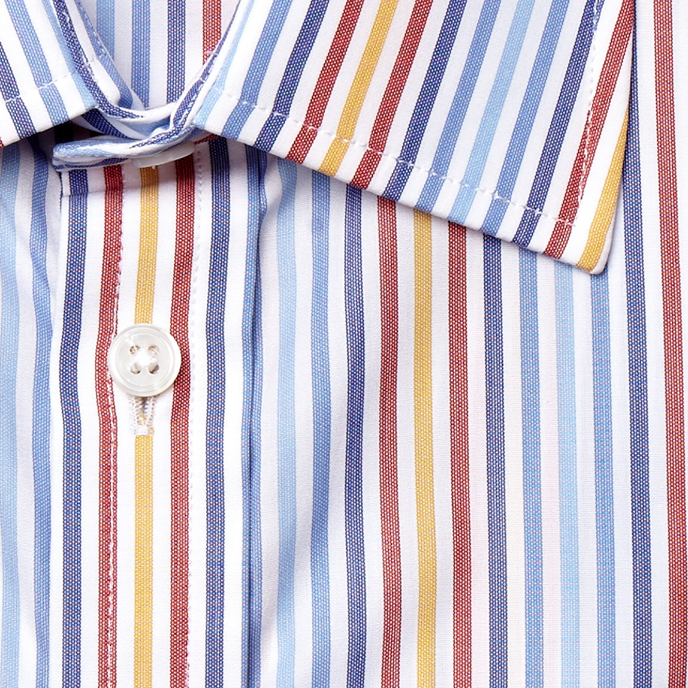 Turnbull asser blue red and yellow stripe shirt with t for Red blue striped shirt