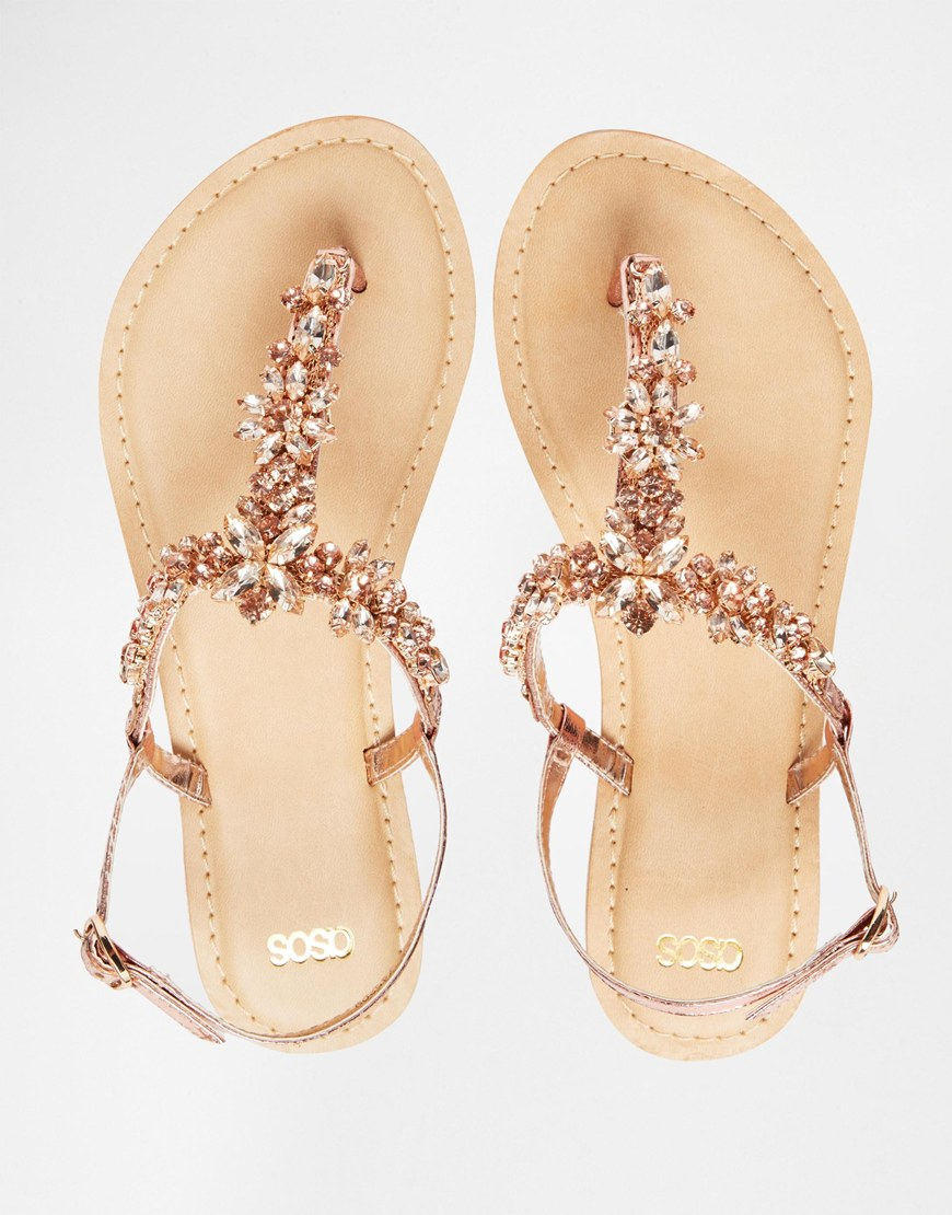 446a89a4172 Lyst - ASOS Fiji Wide Fit Embellished Leather Flat Sandals in Pink