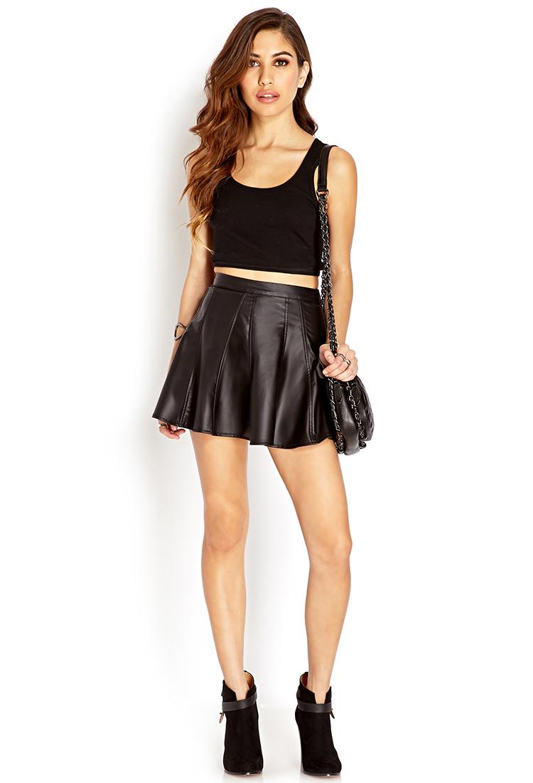 forever 21 dynamite faux leather skater skirt in black lyst