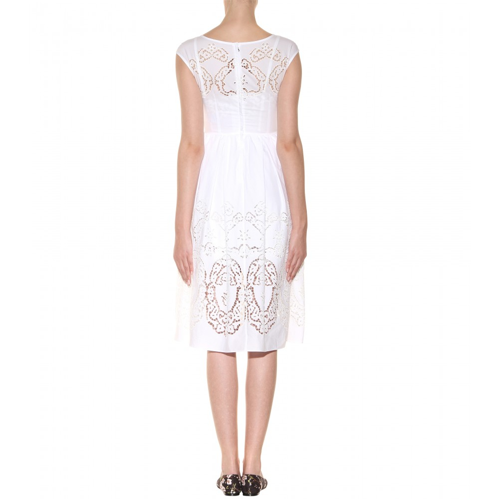 cb0d654228d189 Dolce   Gabbana Broderie Anglaise Cottonblend Dress in White - Lyst