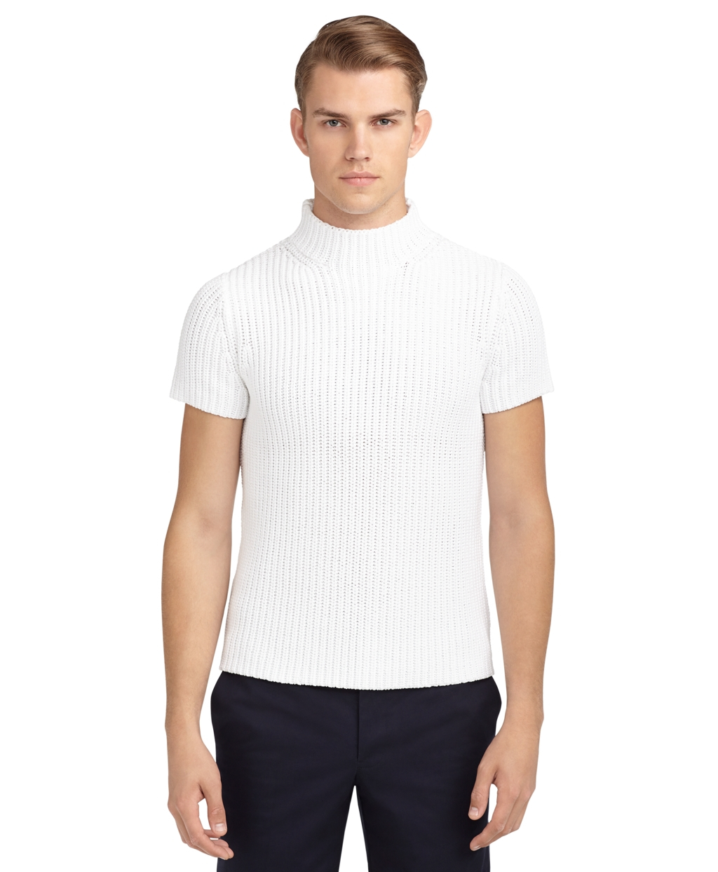 Brooks Brothers Short Sleeve Stitch Turtleneck Sweater White 1 on oscar de la renta sweater men s brown