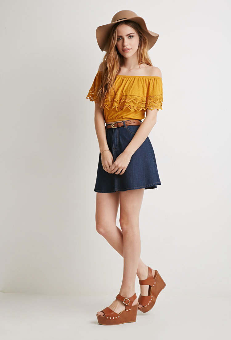 bcf5556b1774f7 Lyst - Forever 21 Crocheted Flounce Off-the-shoulder Top in Orange