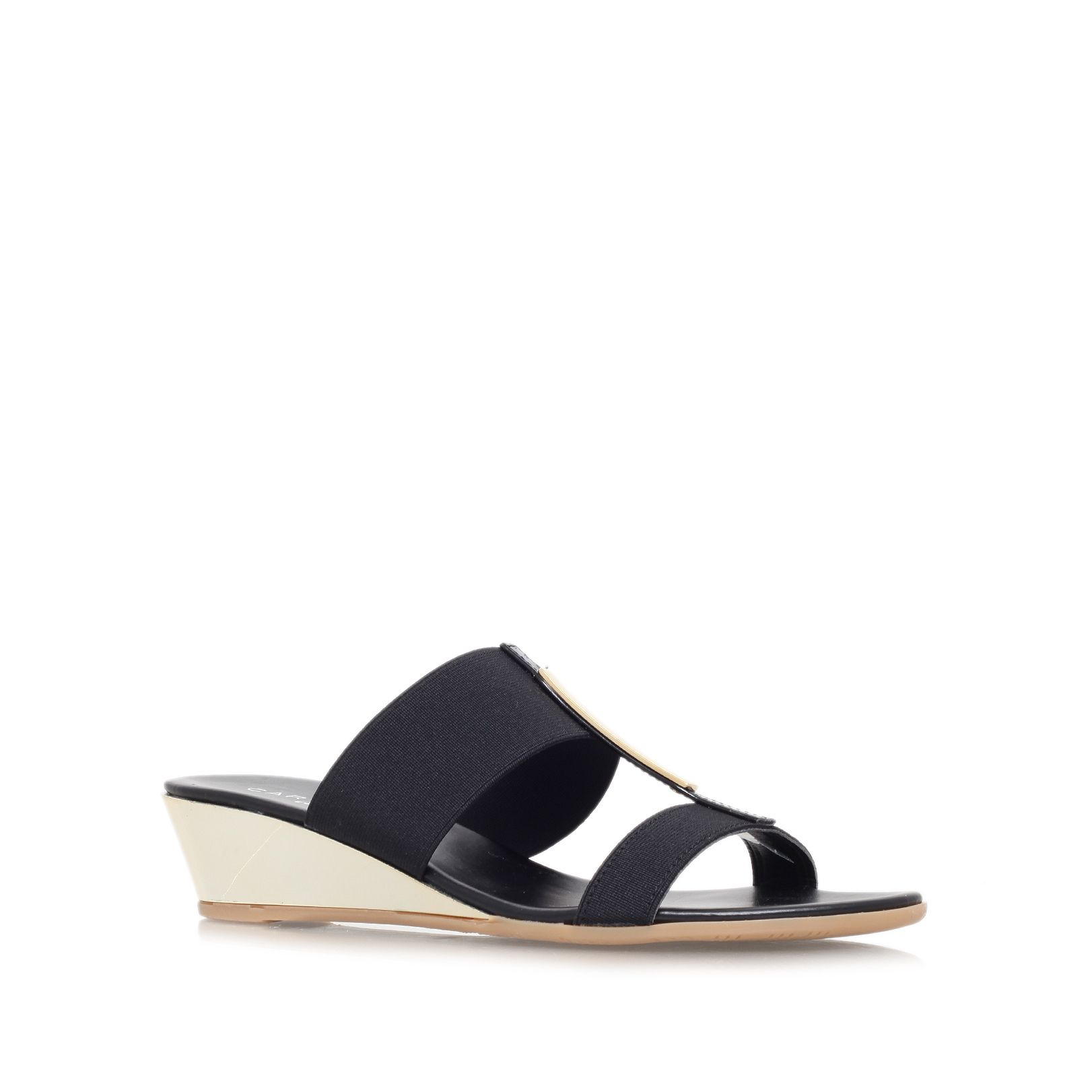 carvela kurt geiger suri low wedge heel sandals in black