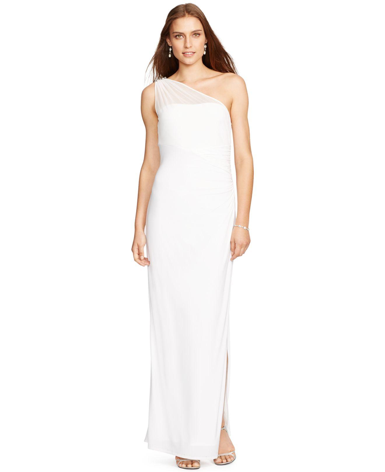 a70550d52d Lauren by Ralph Lauren One-Shoulder Illusion Gown in Natural - Lyst