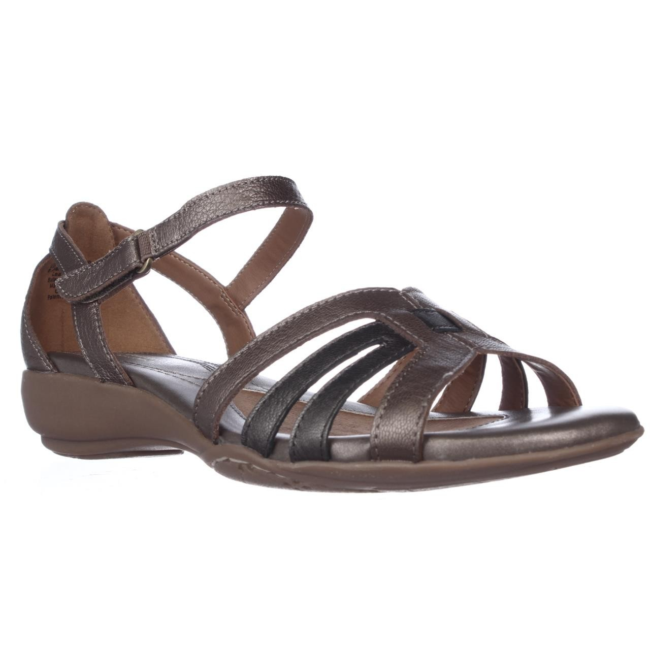 naturalizer caliah fisherman low wedge sandals in brown lyst