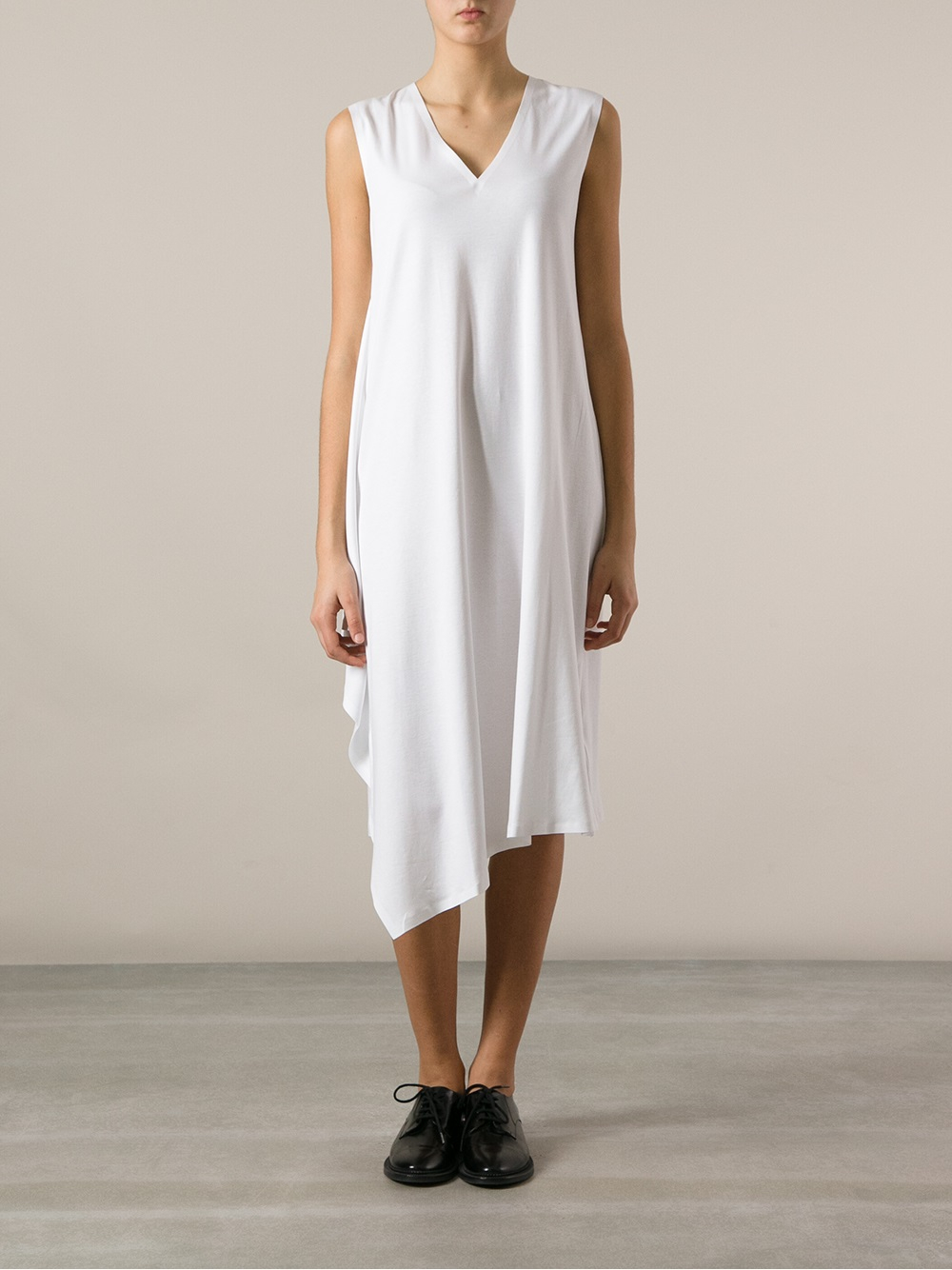 Mm6 by maison martin margiela draped shift dress in white for Mm6 maison margiela