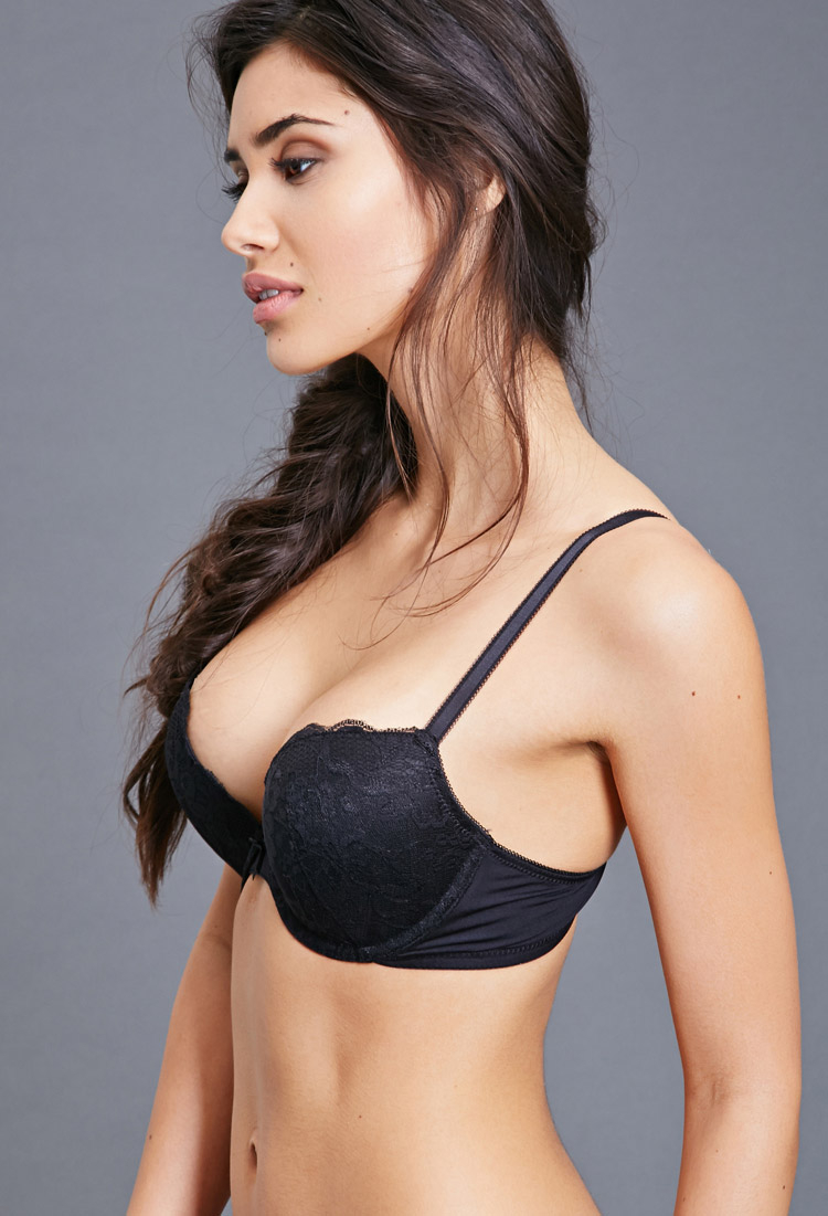 8fb0f228f42af Forever 21 Lace Push-up Bra in Black - Lyst