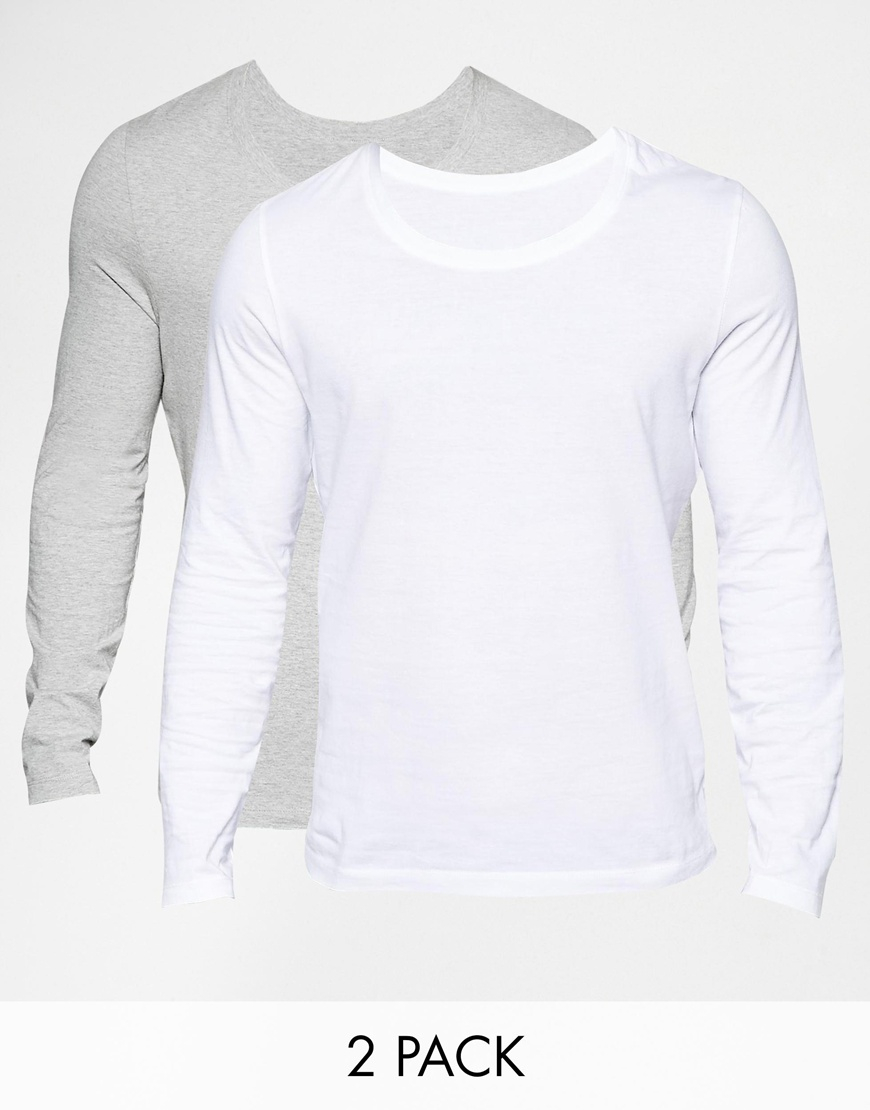 Asos long sleeve t shirt with scoop neck 2 pack save 19 for Scoop neck long sleeve shirt