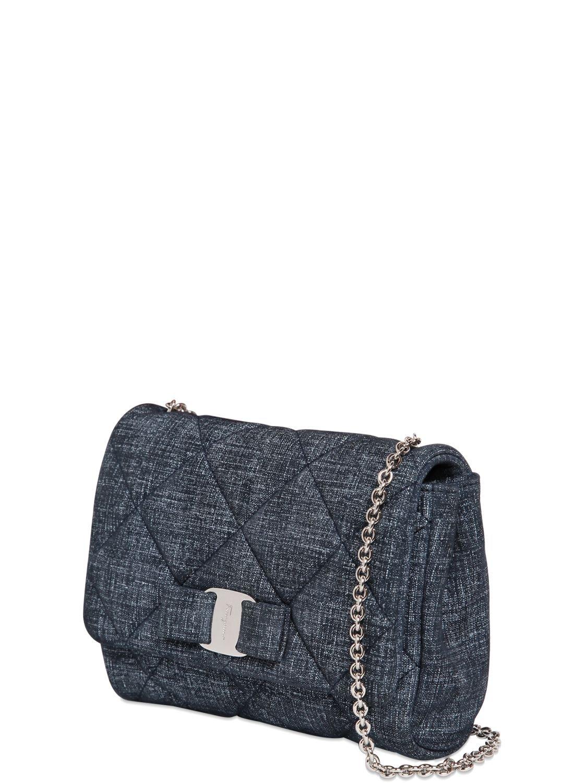 Ferragamo  Gelly  Quilted Shoulder Bag in Blue - Lyst 76d8547157b21