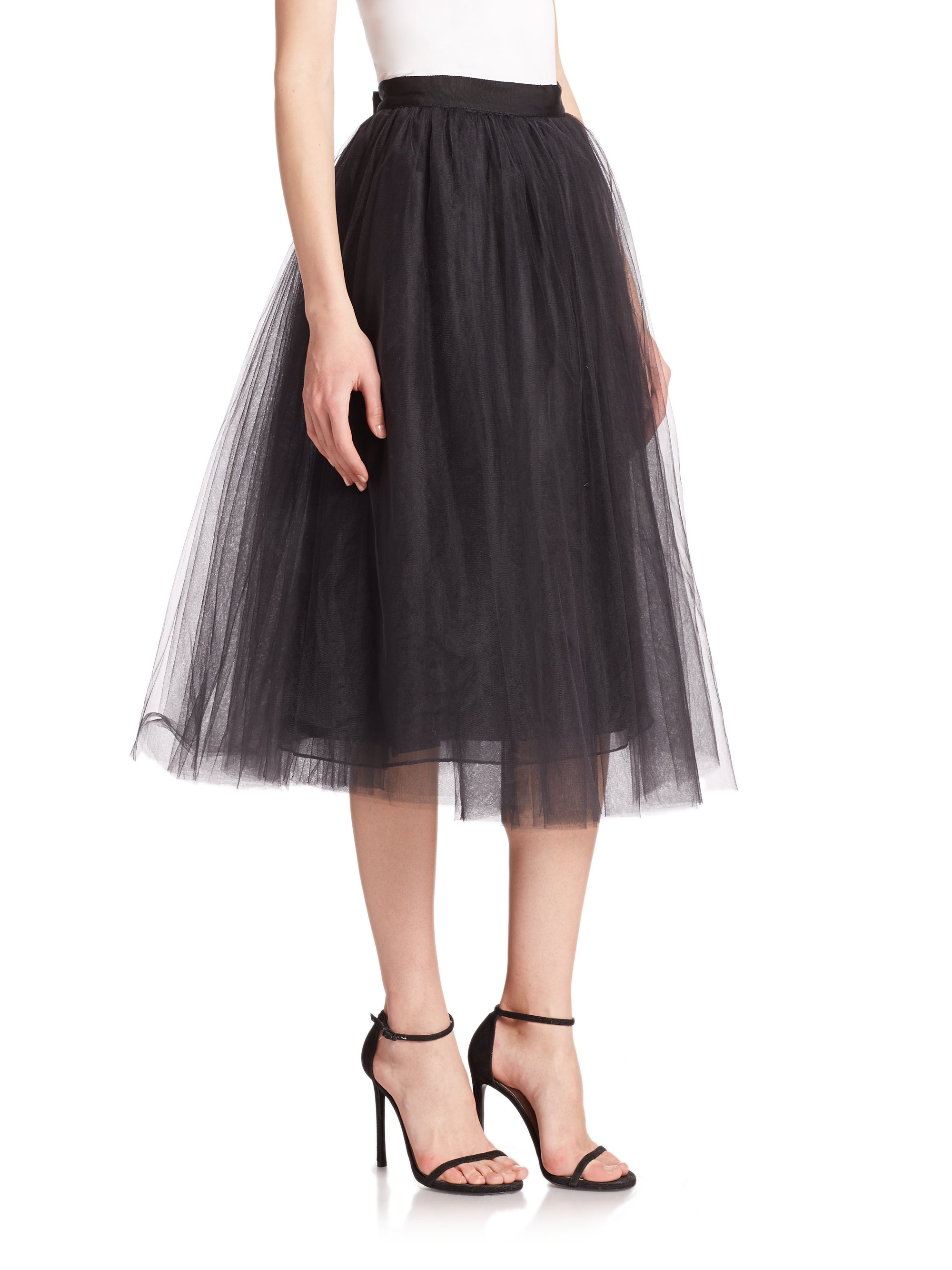 elizabeth and everleigh tulle midi skirt in black lyst