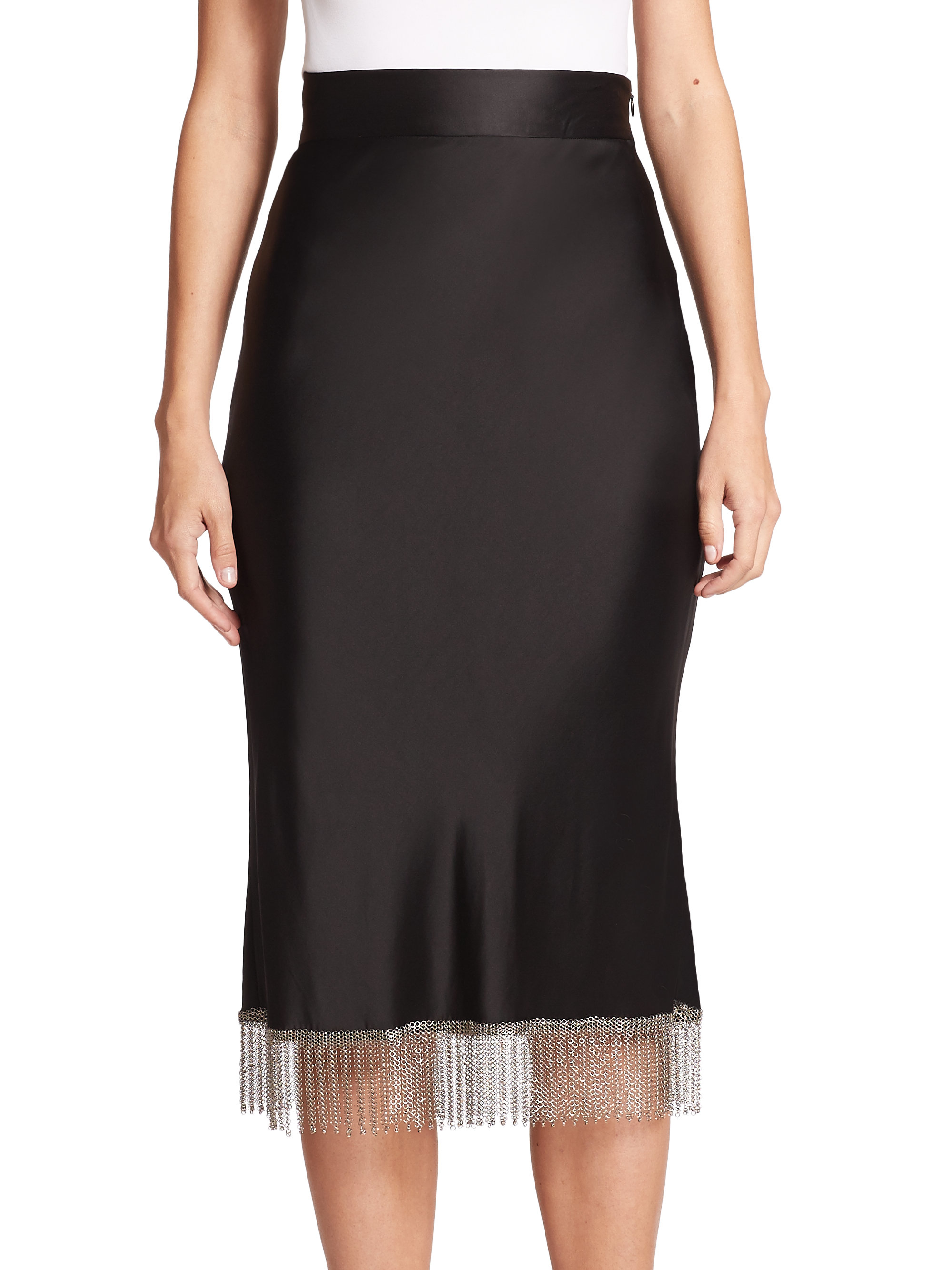 Alexander wang High-waist Chainmail-fringe Skirt in Black | Lyst