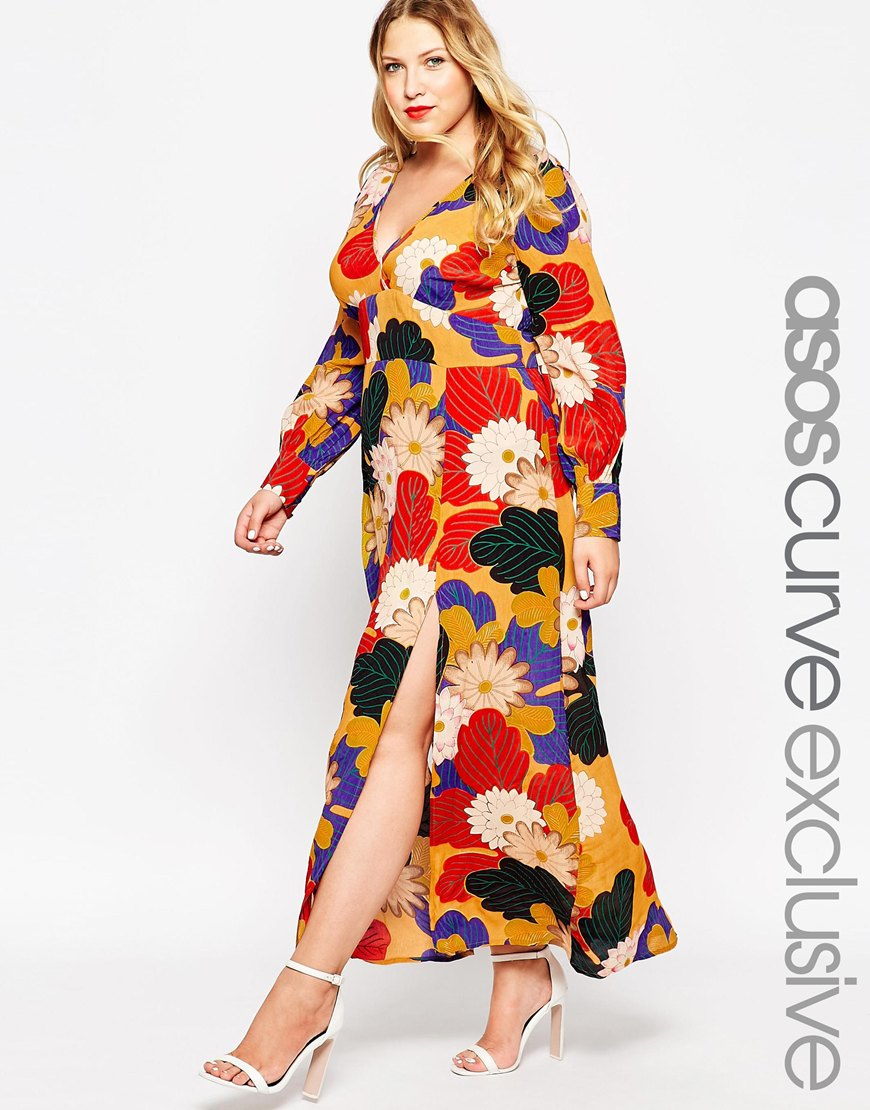 Asos Curve Maxi Dress In Stunning 70\'s Floral Print | Lyst