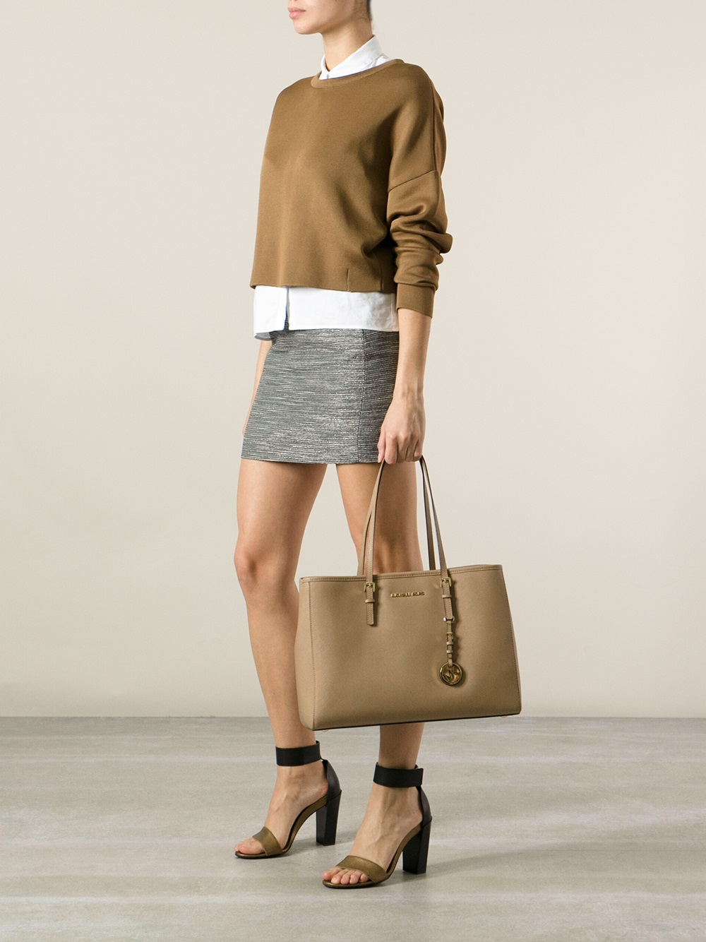 090e4a4f2a Lyst - MICHAEL Michael Kors Classic Long Handle Tote Bag in Brown