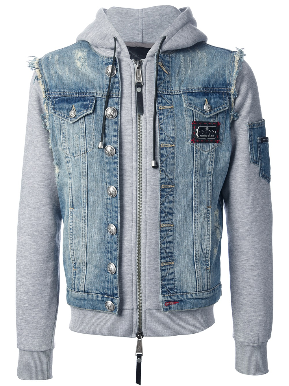 philipp plein layered denim jacket in blue for men lyst. Black Bedroom Furniture Sets. Home Design Ideas