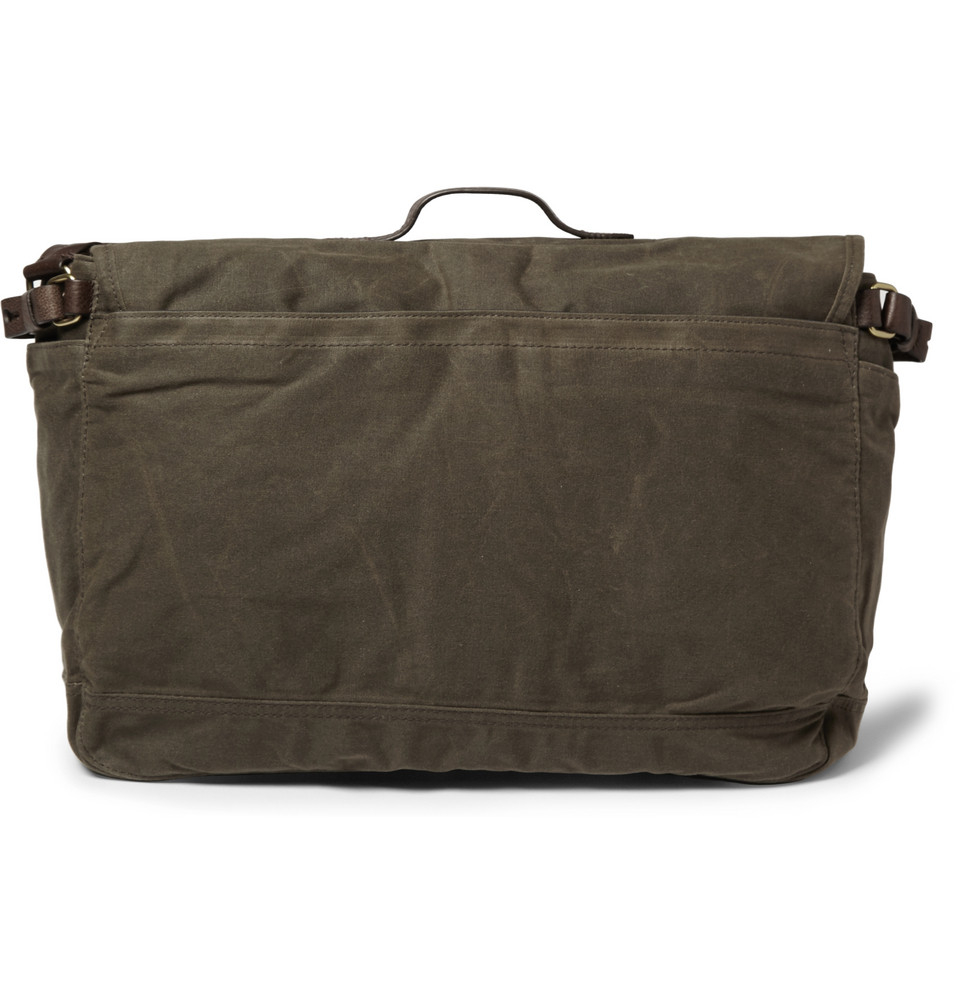 jcrew abingdon waxed cottoncanvas and leather messenger