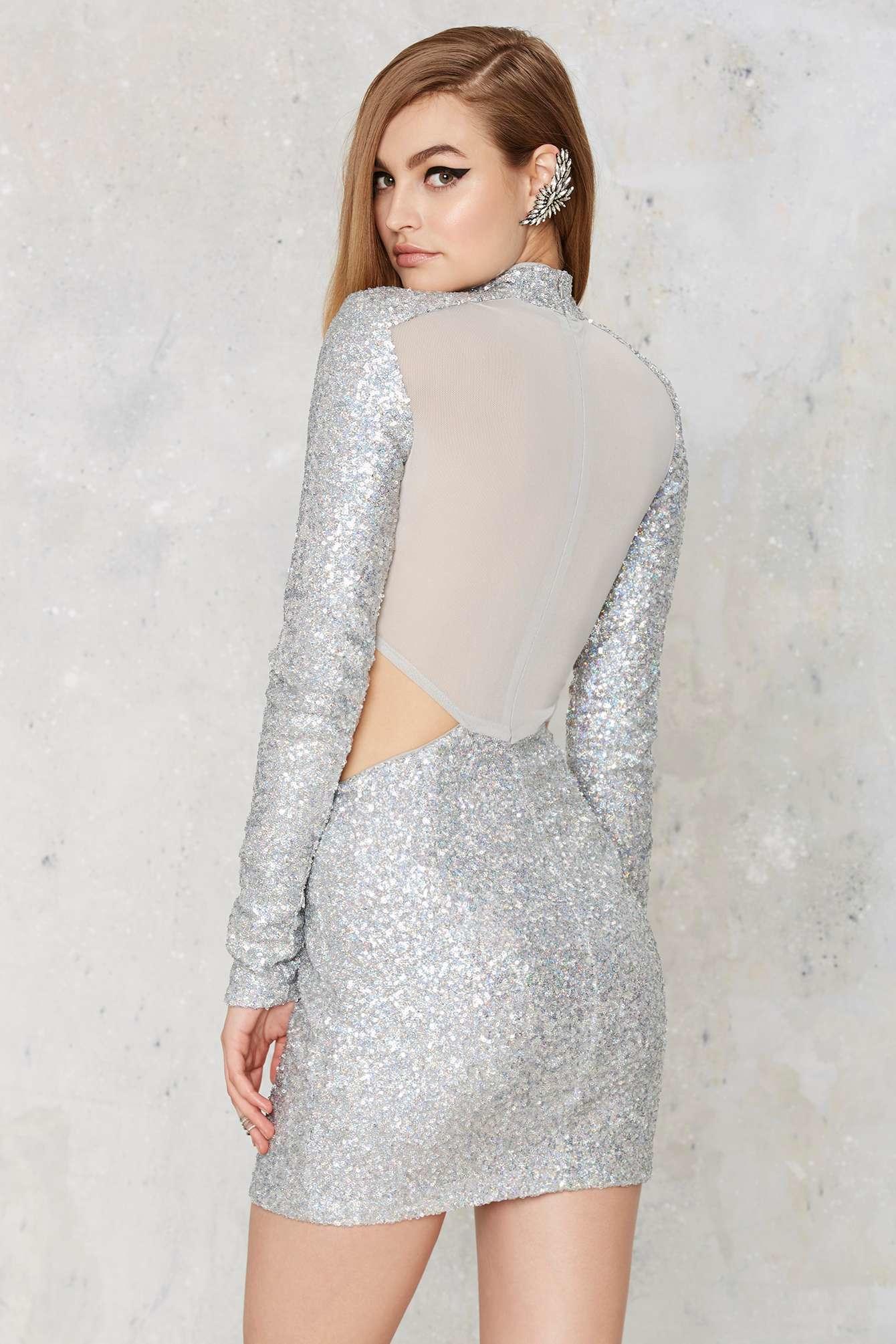 cb29b19548 Lyst - Nasty Gal Take A Shine Sequin Cutout Dress in Metallic