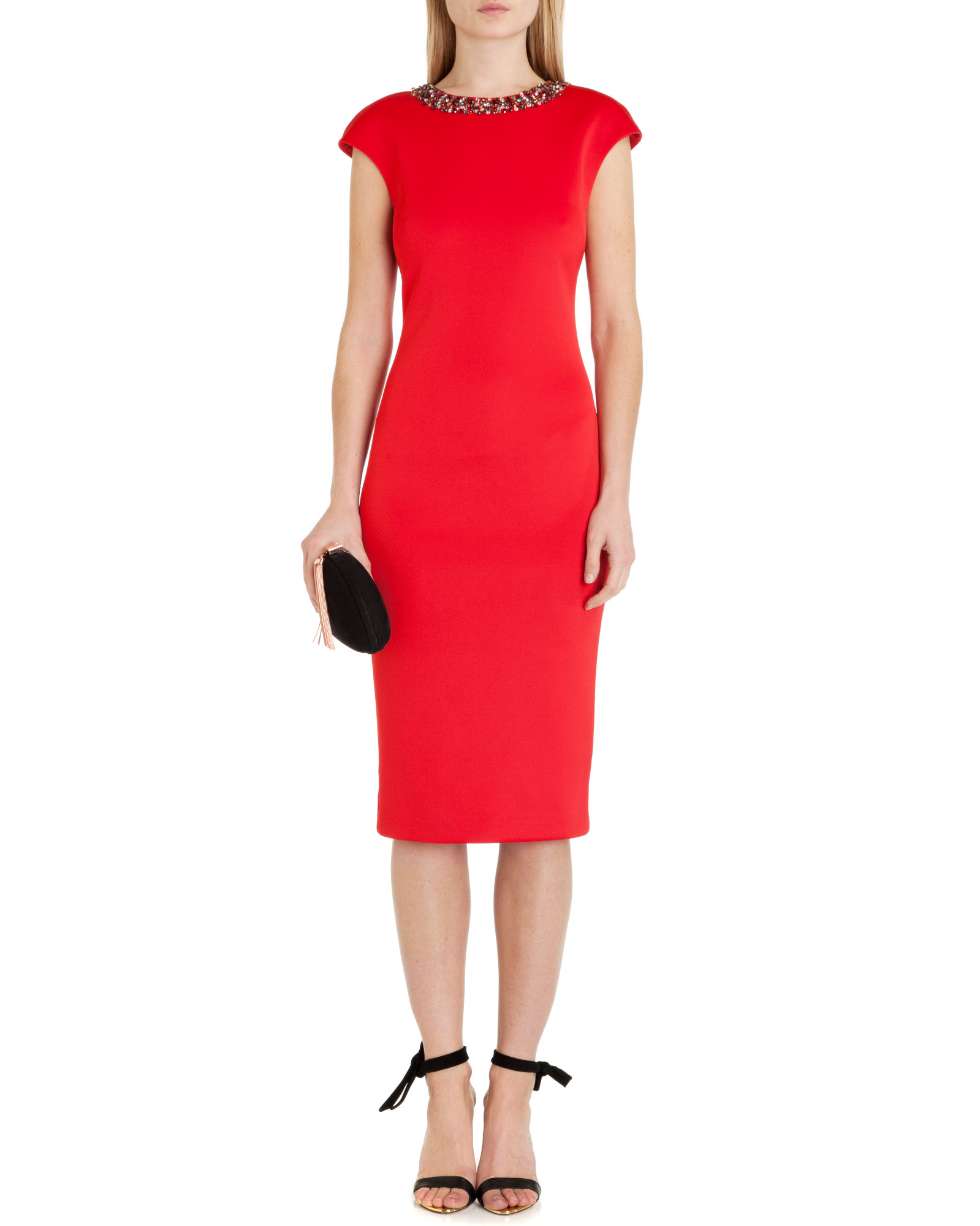 1f022d5e89f40 Ted Baker Elenna Embellished Midi Dress in Red - Lyst