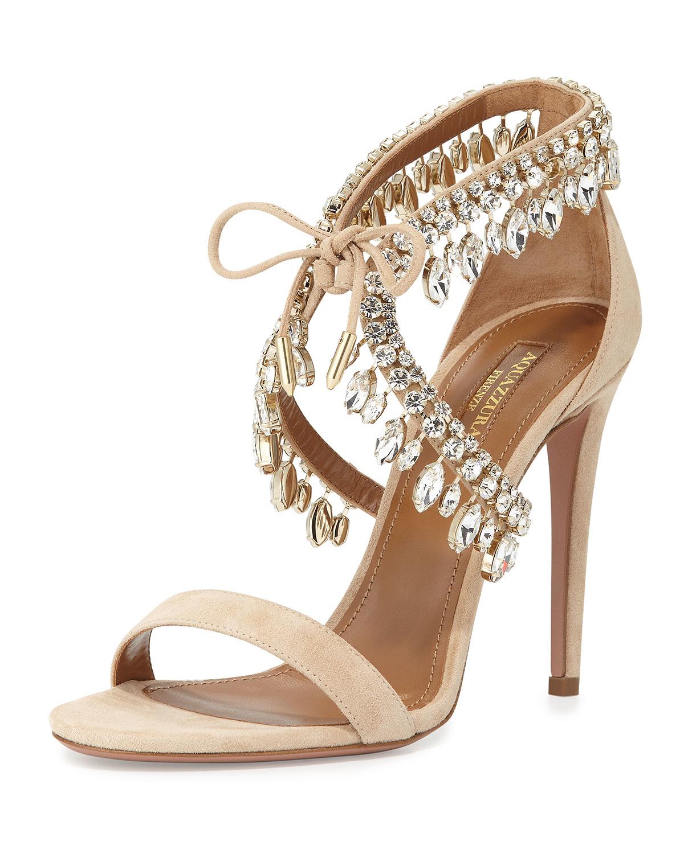 1ff993a99c2 Lyst - Aquazzura Milla Jeweled Suede Sandals in Metallic