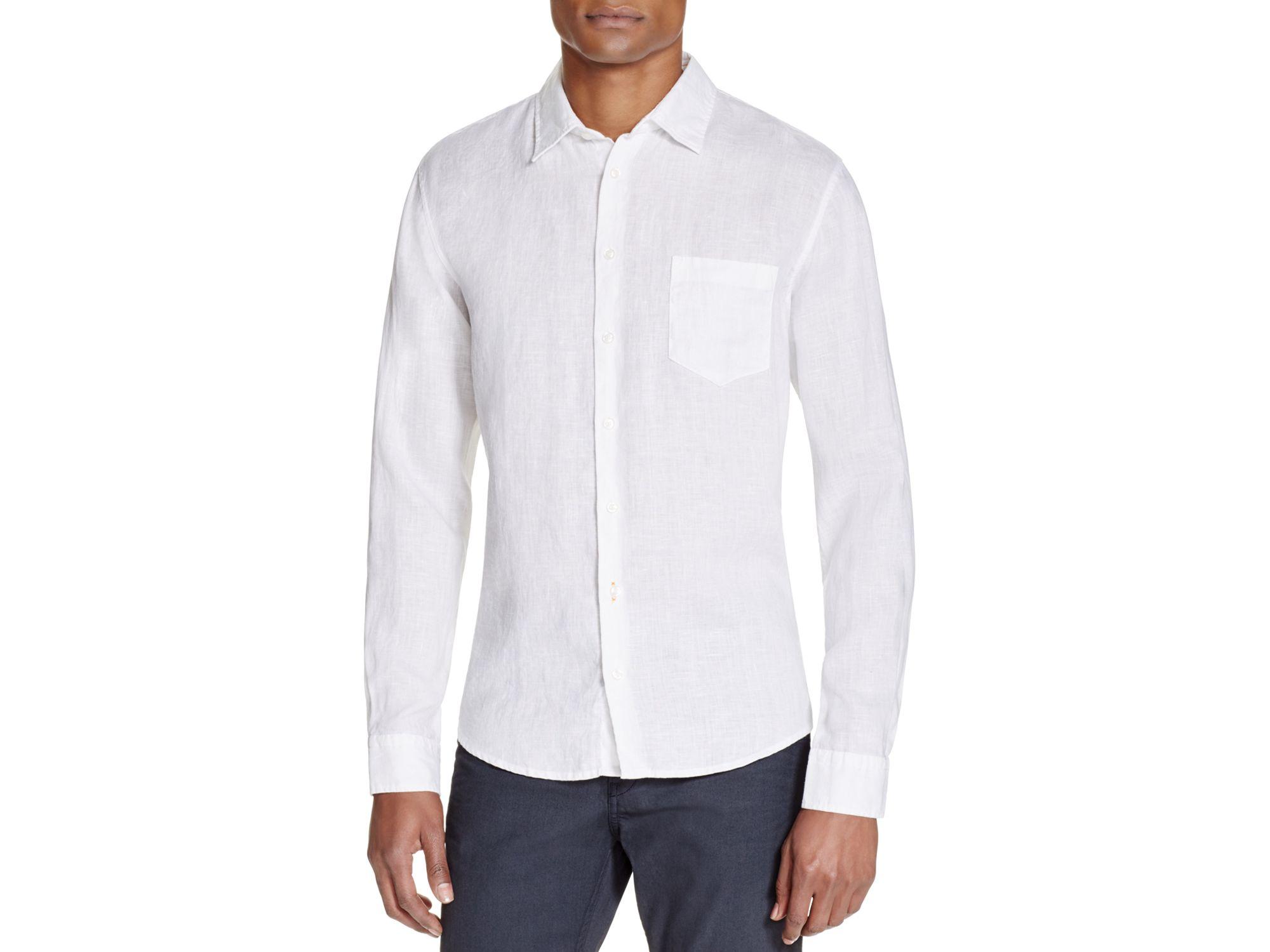 Lyst boss boss orange enamee slim fit button down shirt for Slim fit white button down shirt