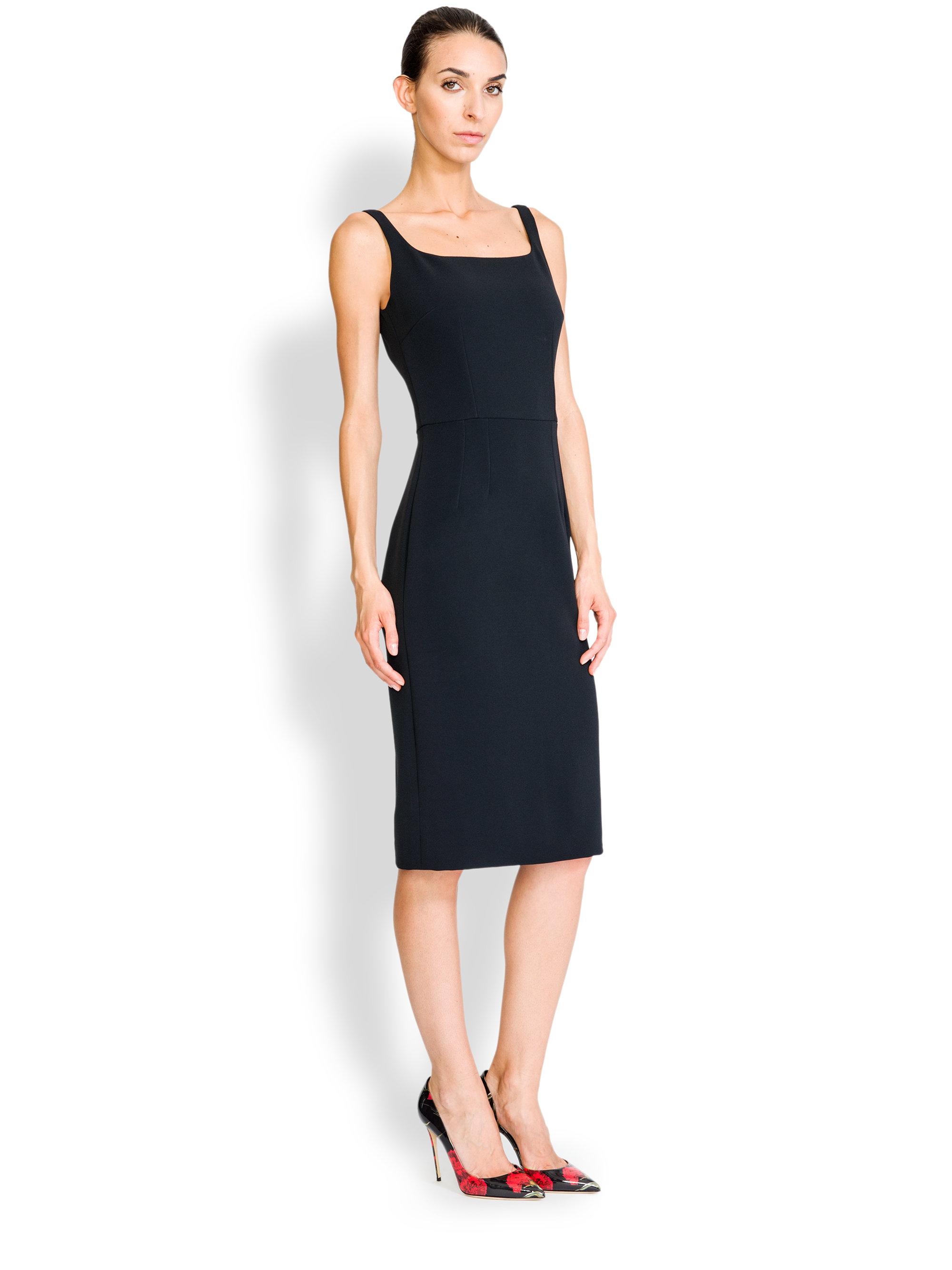9d1c14586d72d Lyst - Dolce   Gabbana Tubino Squareneck Sheath in Black