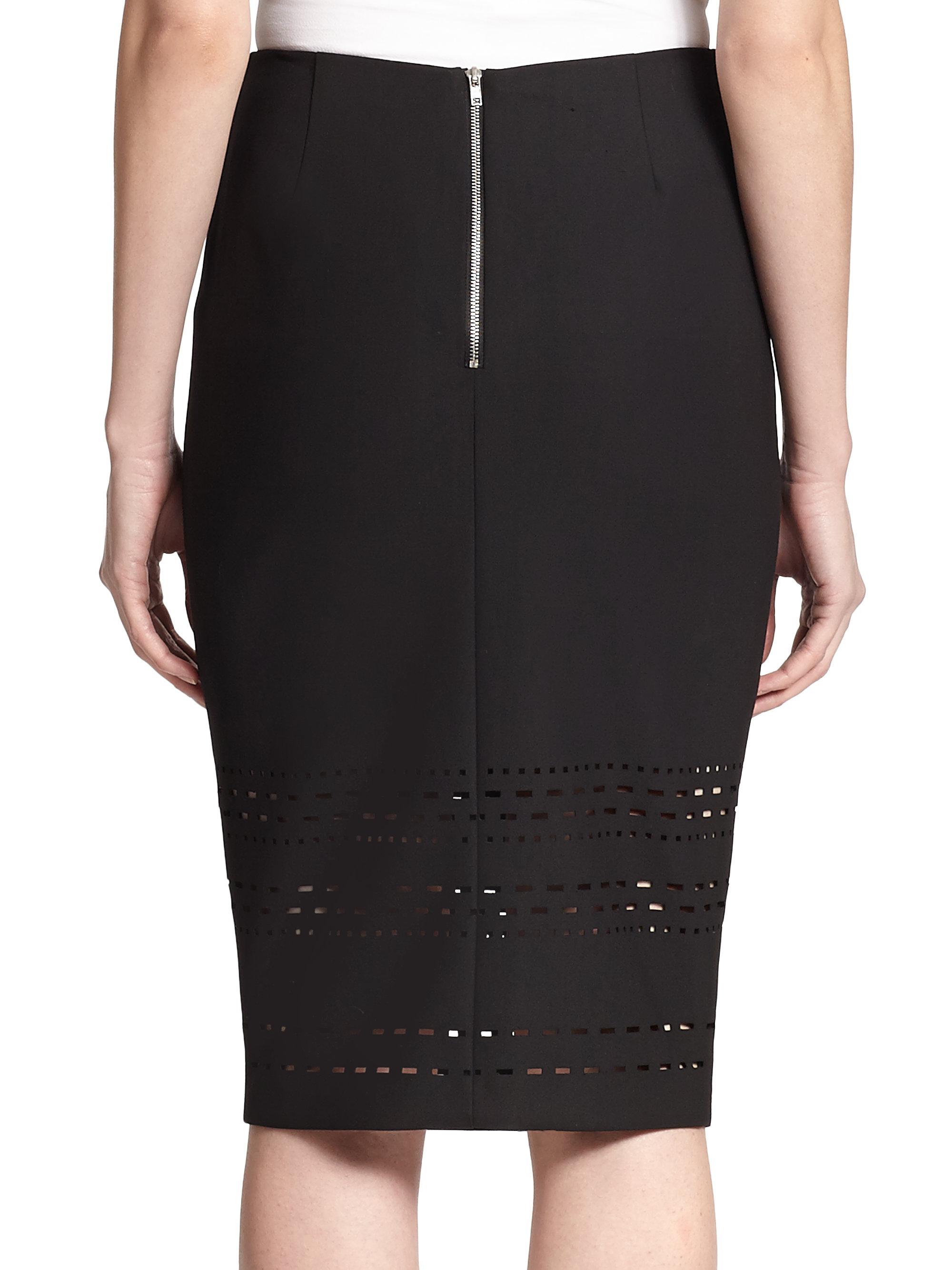 elizabeth and carrigan laser cut pencil skirt in