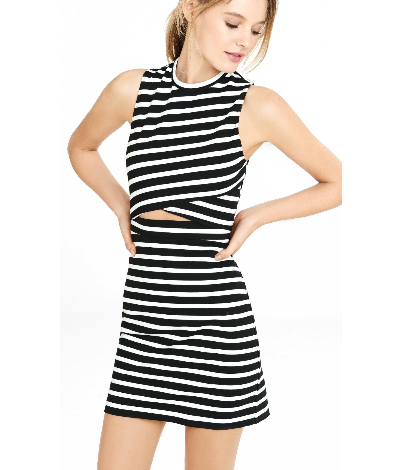 Lyst - Express Striped Cutout Mini Sheath Dress in Black 4d6e254d5