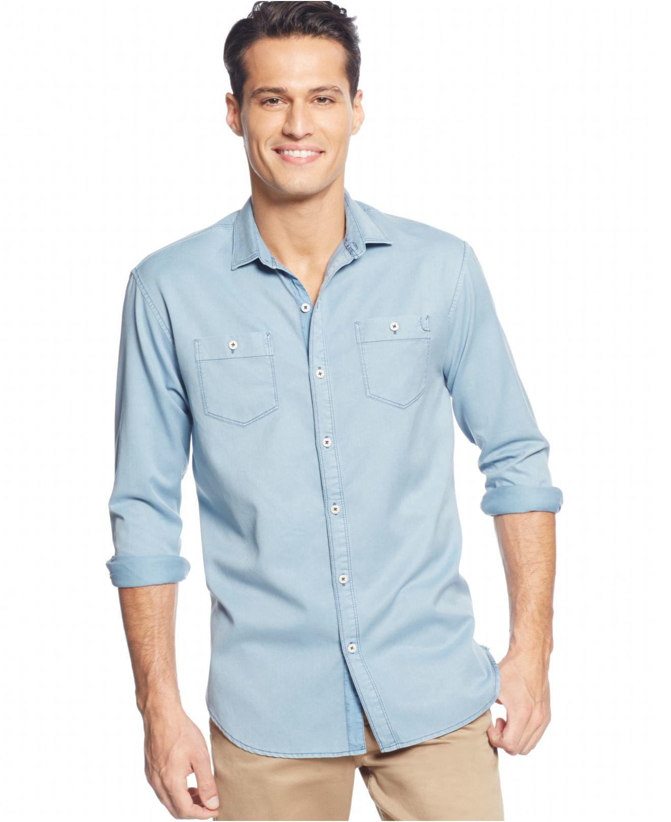 Lyst tommy bahama long sleeve twill shirt in blue for men for Tommy bahama long sleeve dress shirts