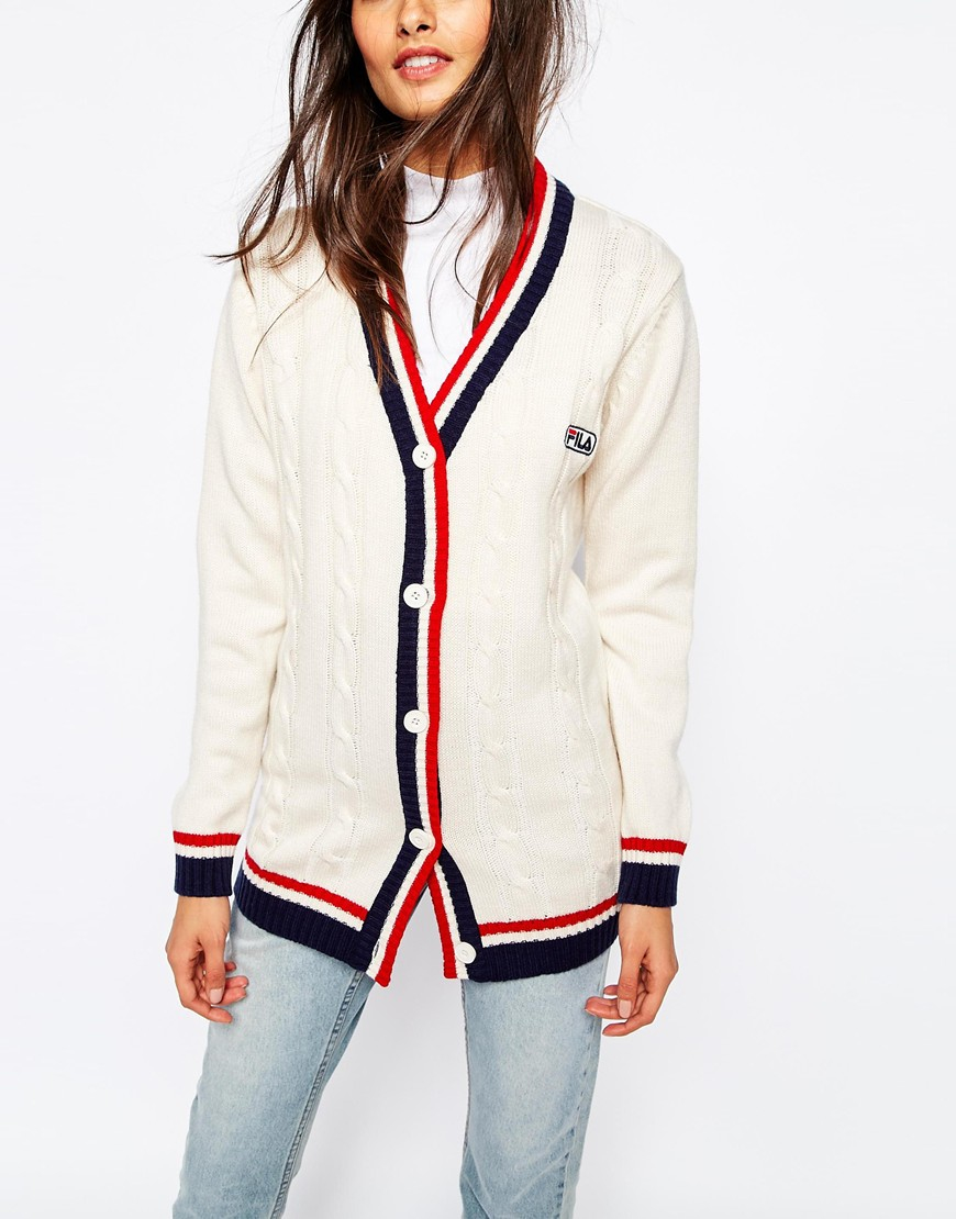 Fila Oversized Longline Boyfriend Cardigan in Natural | Lyst