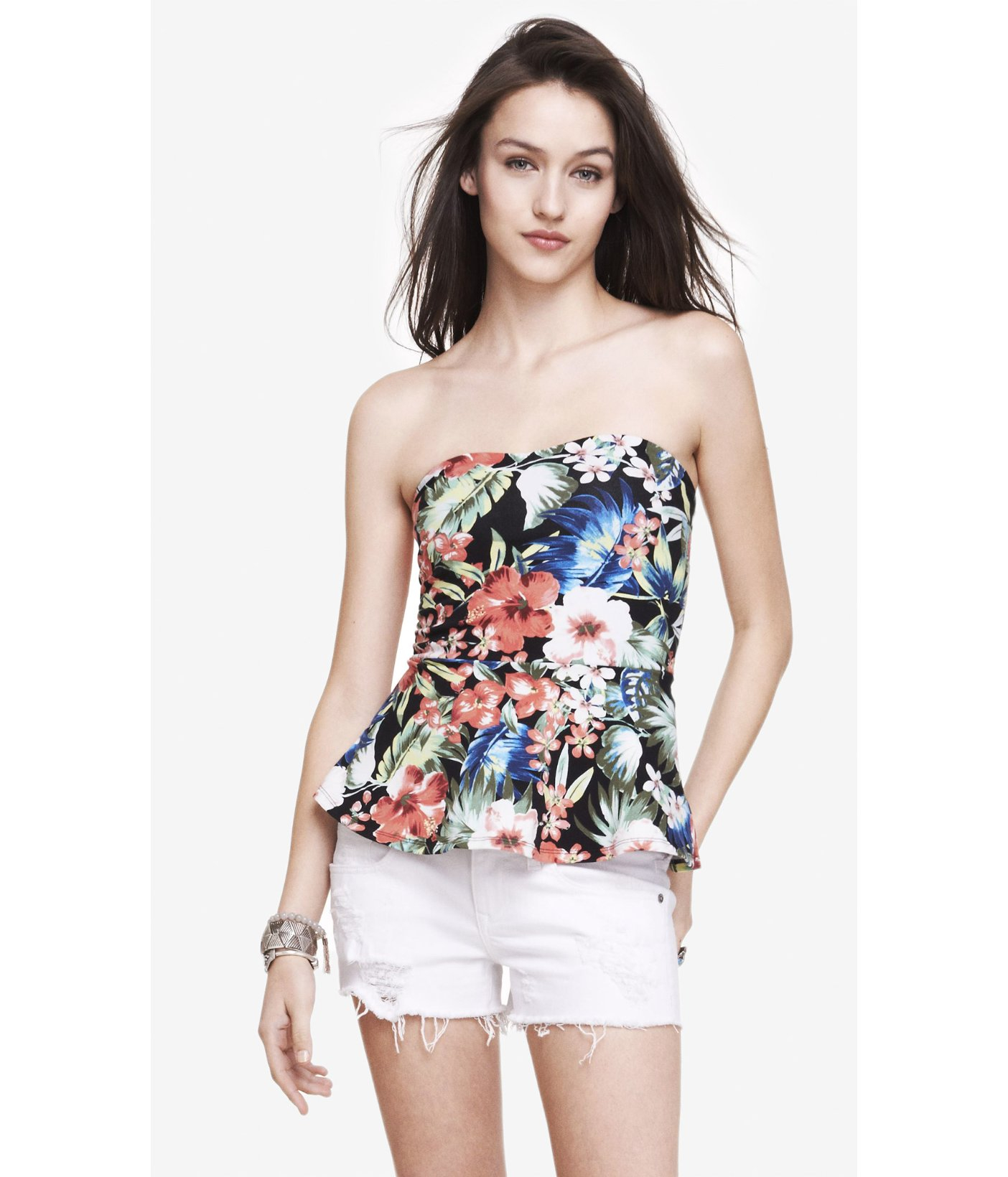 5833aba18e Lyst - Express Peplum Tube Top - Tropical Floral in Black