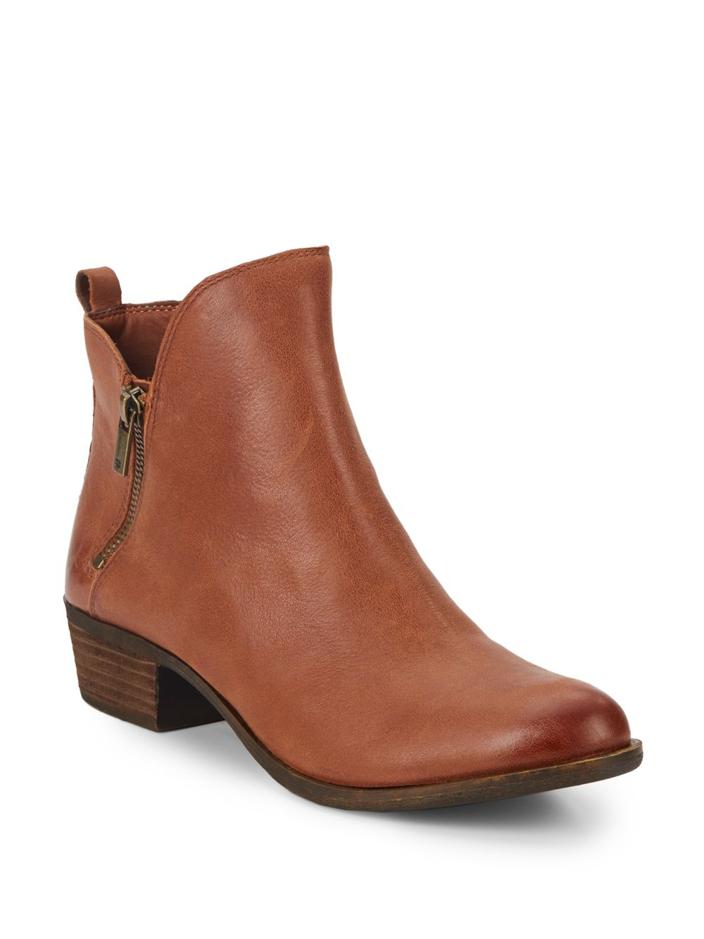 lucky brand basonta leather ankle boots in brown lyst