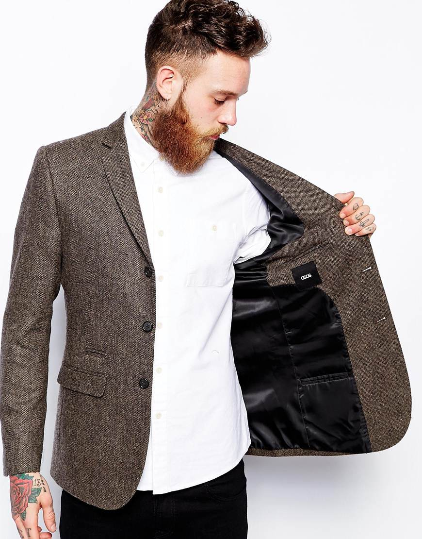 asos slim fit blazer in tweed in brown for men lyst. Black Bedroom Furniture Sets. Home Design Ideas