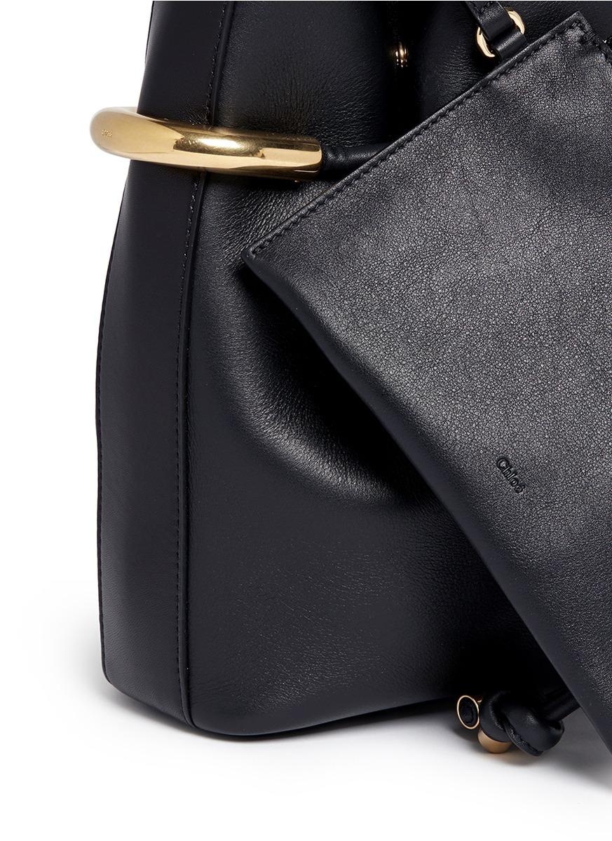 152dd2093df2 Lyst - Chloé  emma  Small Leather Drawstring Bucket Bag in Black