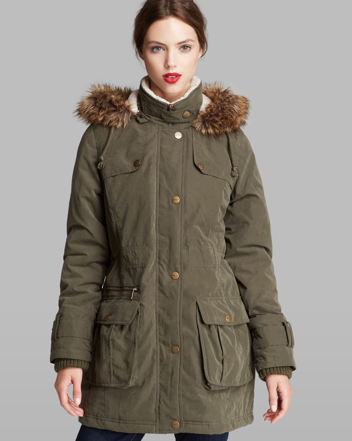 Dkny faux fur trim hooded parka loden