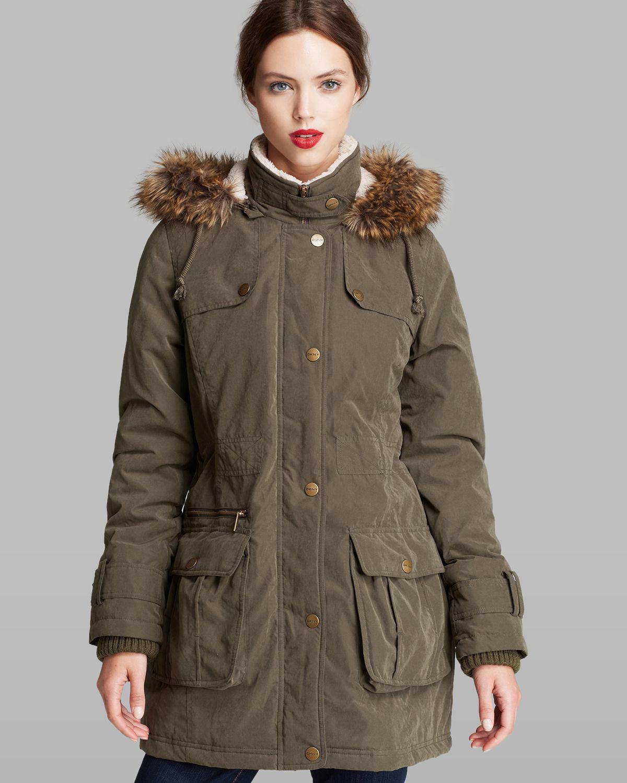 Dkny Anorak Piper Faux Fur Trim Hood In Natural Lyst