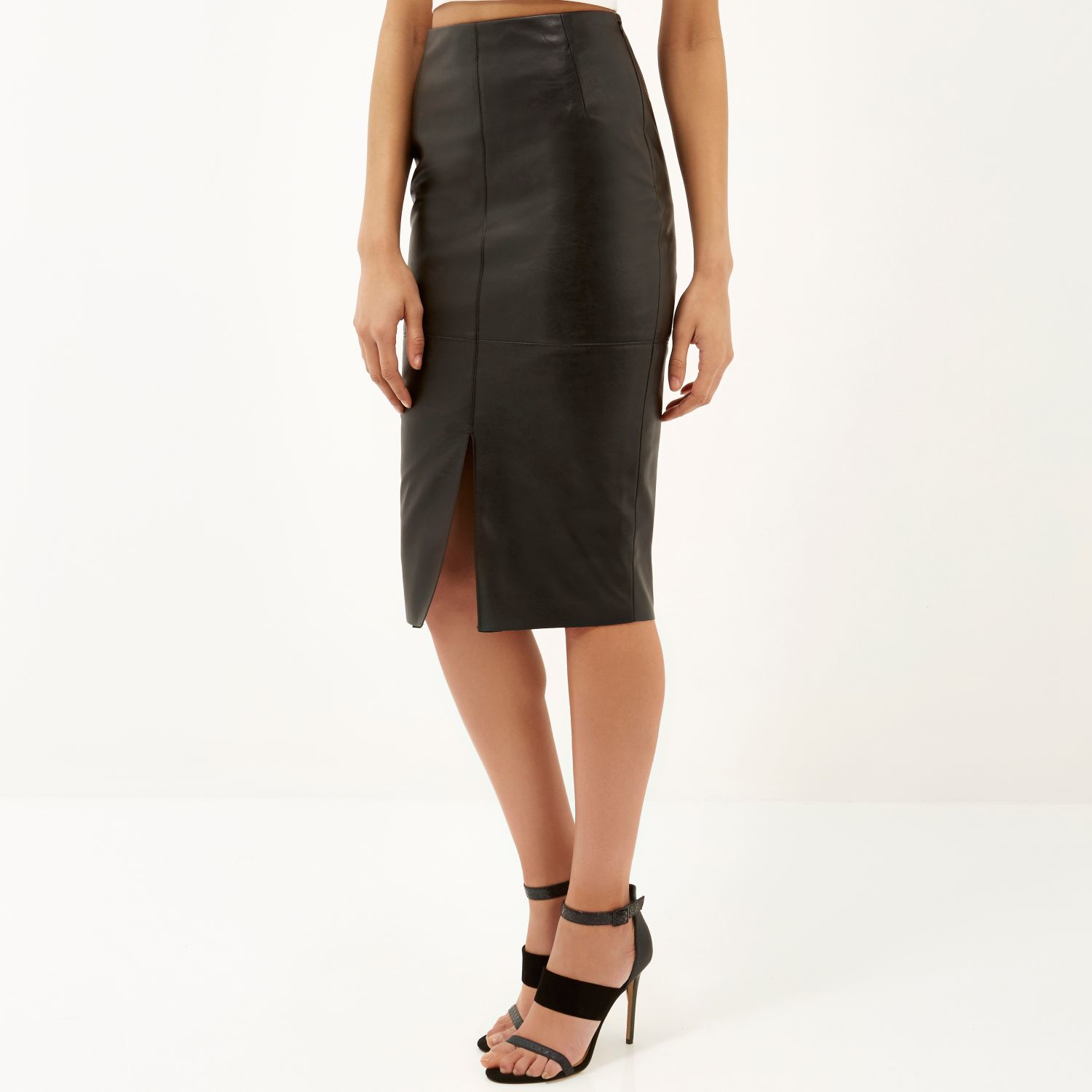 967e41a0b2 Red Leather Skirt River Island
