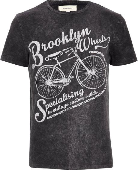 River island dark grey brooklyn wheels print tshirt in for T shirt printing brooklyn