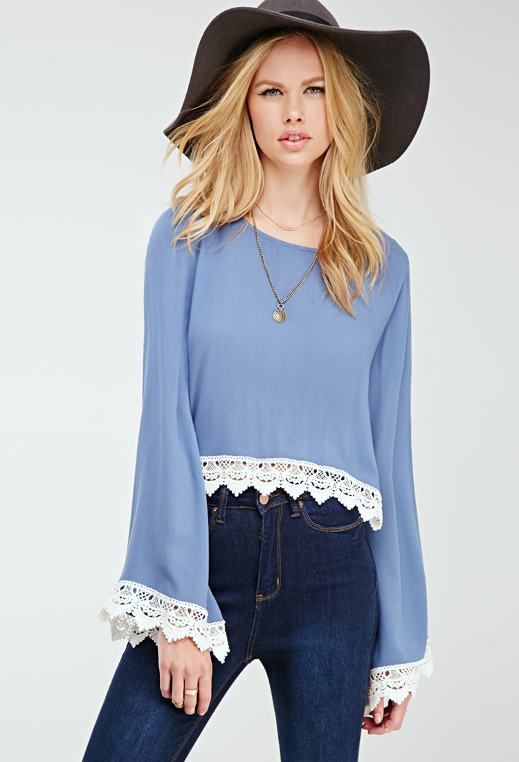 a0e871d1df0e88 Forever 21 Crochet-trimmed Bell Sleeve Top in Blue - Lyst